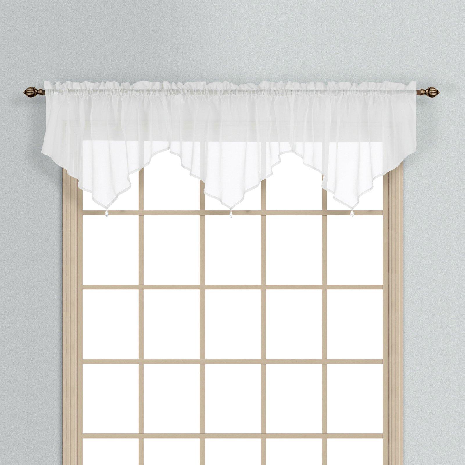 Mocha Micro Striped Semi Sheer Window Curtain Pieces Valance Regarding Micro Striped Semi Sheer Window Curtain Pieces (View 15 of 20)