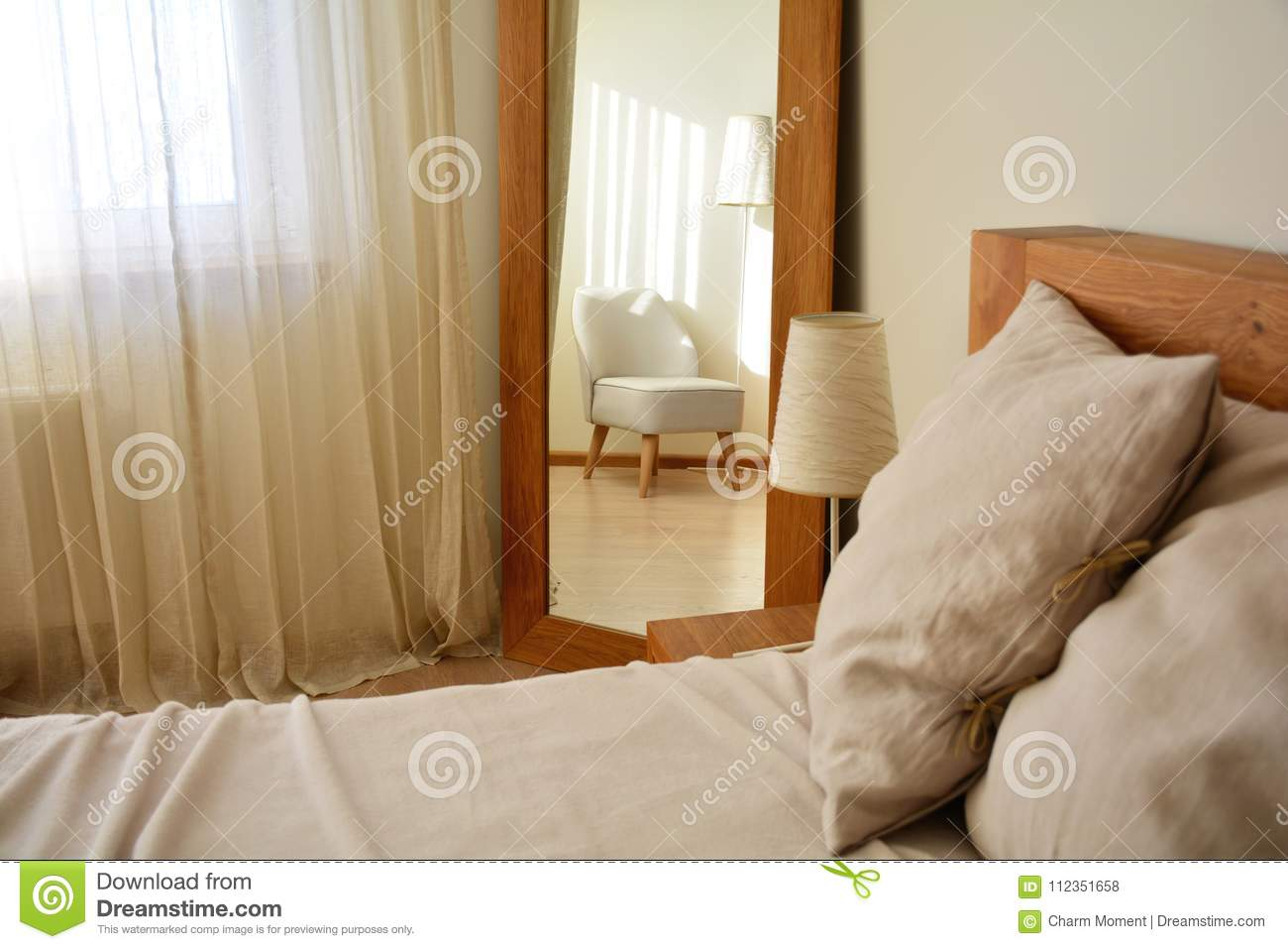 Modern Bedroom Interior Design With Natural Oak Wood For Oakwood Linen Style Decorative Curtain Tier Sets (View 19 of 20)