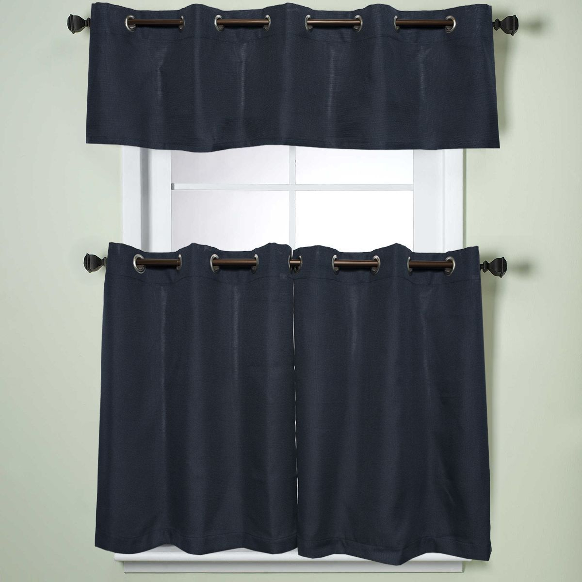 Modern Subtle Texture Solid Navy Kitchen Curtain Parts With With Regard To Modern Subtle Texture Solid White Kitchen Curtain Parts With Grommets Tier And Valance Options (View 3 of 20)