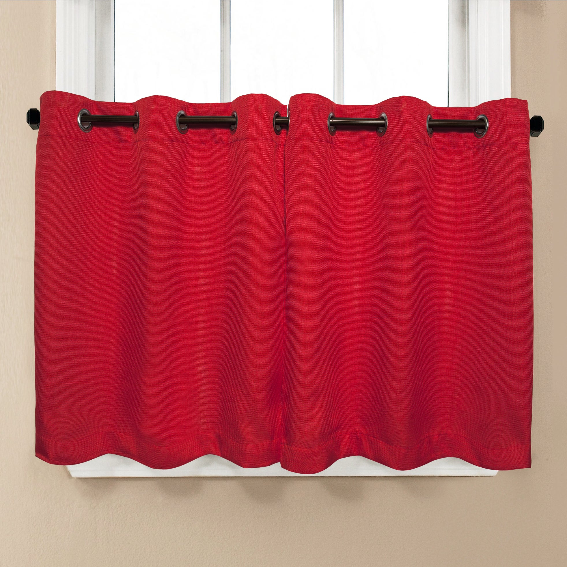 Modern Subtle Texture Solid Red Kitchen Curtain Parts With Grommets Tier And Valance Options In Modern Subtle Texture Solid White Kitchen Curtain Parts With Grommets Tier And Valance Options (View 6 of 20)