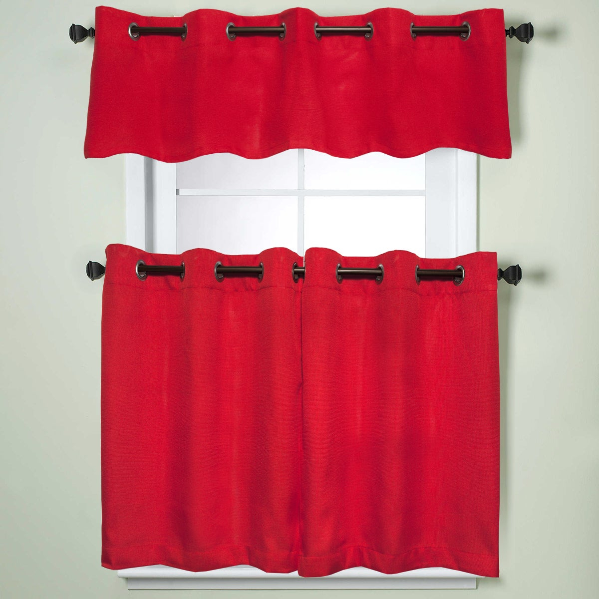 Modern Subtle Texture Solid Red Kitchen Curtain Parts With Grommets Tier And Valance Options With Modern Subtle Texture Solid White Kitchen Curtain Parts With Grommets Tier And Valance Options (View 4 of 20)
