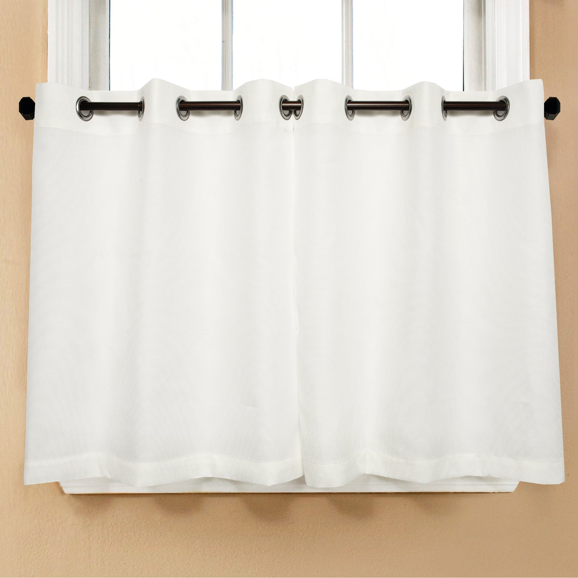 Featured Photo of Modern Subtle Texture Solid White Kitchen Curtain Parts With Grommets Tier And Valance Options