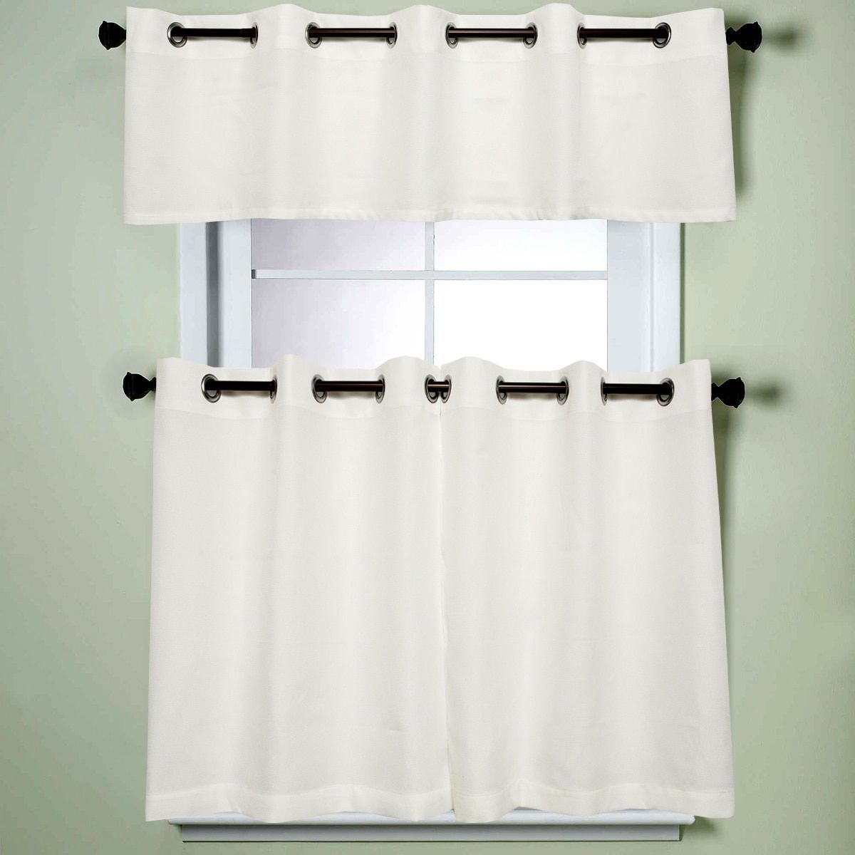 Modern Subtle Texture Solid White Kitchen Curtain Parts With Regarding Modern Subtle Texture Solid White Kitchen Curtain Parts With Grommets Tier And Valance Options (View 2 of 20)