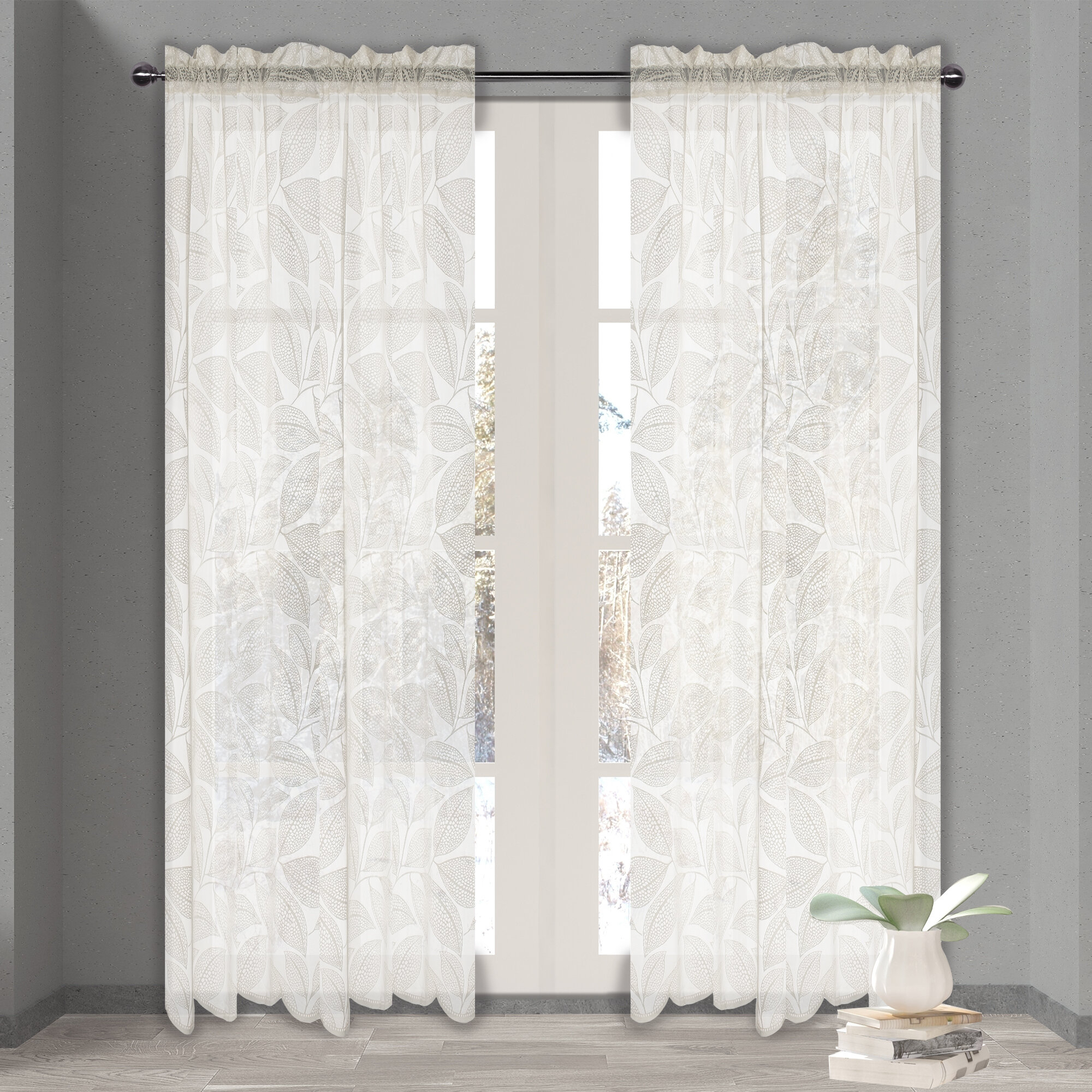 Mullenix Leaf Floral Sheer Rod Pocket Single Curtain Panel Inside Marine Life Motif Knitted Lace Window Curtain Pieces (View 18 of 20)