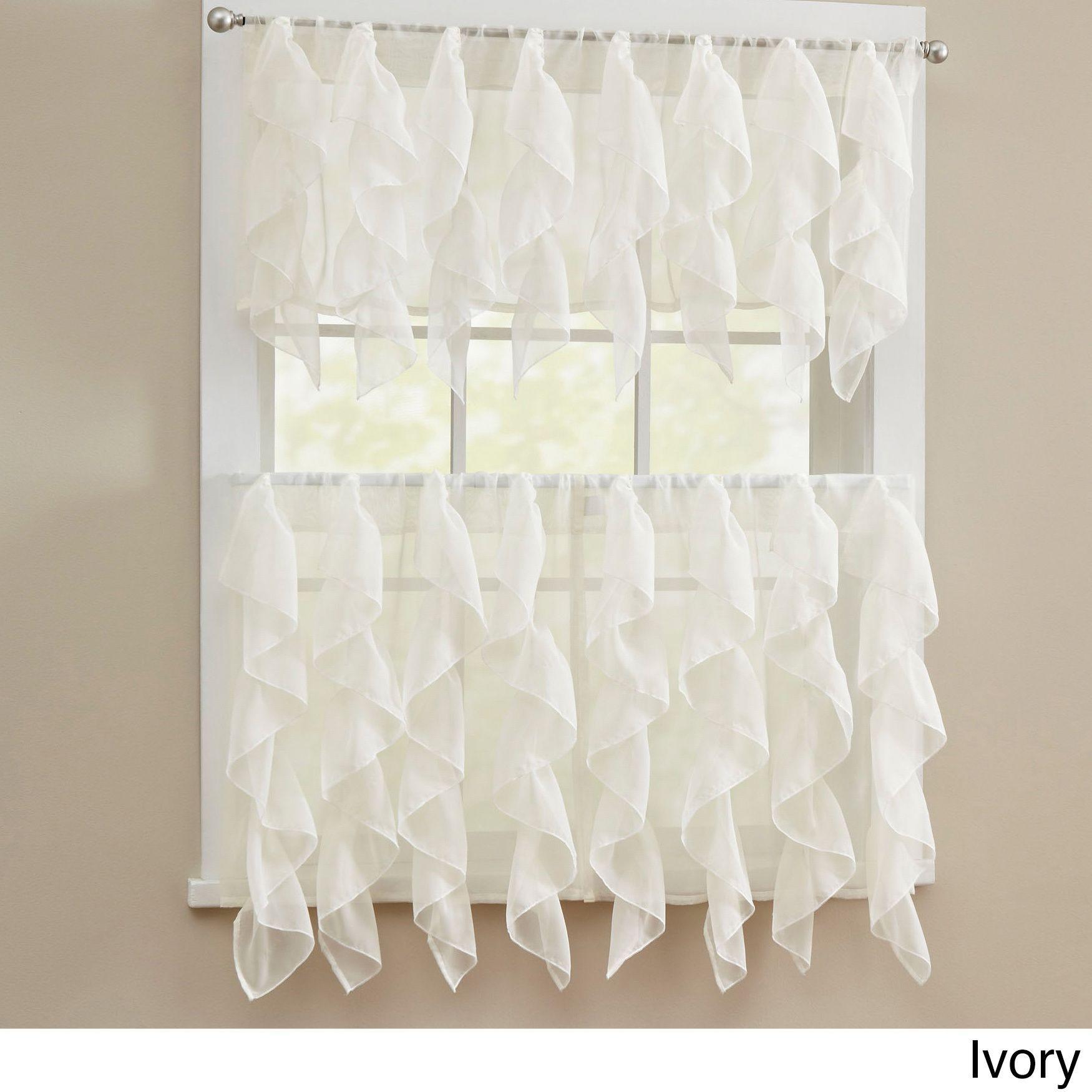 N Chic Sheer Voile Vertical Ruffled Tier Window Curtain Intended For Chic Sheer Voile Vertical Ruffled Window Curtain Tiers (View 16 of 20)
