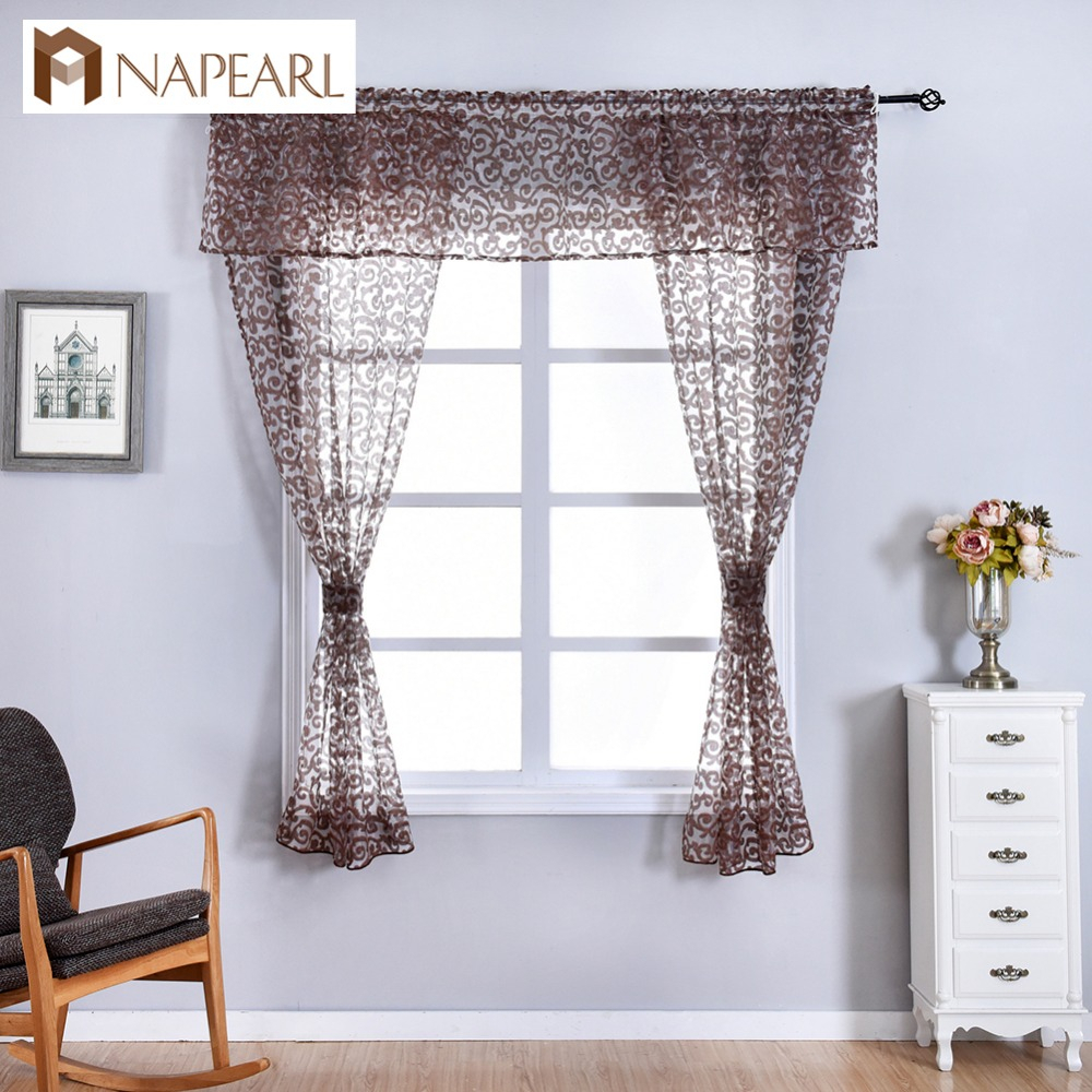 Napearl Classic Floral Kitchen Rod Pocket Curtains Window Valance And Tiers Sheer Short Drapes Jacquard Tulle Bay Window Voile In Semi Sheer Rod Pocket Kitchen Curtain Valance And Tiers Sets (View 14 of 20)