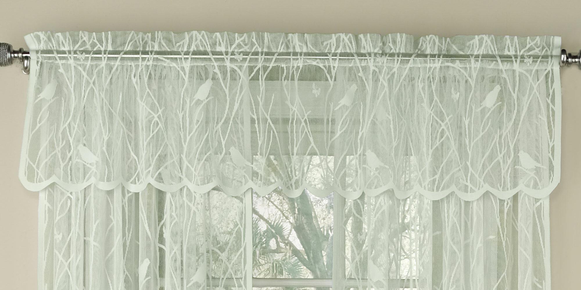 "Nardi Knit Lace Song Bird Motif 56"" Window Valance In Ivory Knit Lace Bird Motif Window Curtain (View 12 of 20)"