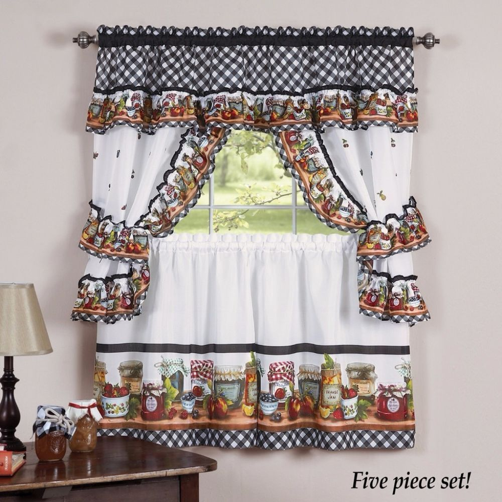 Naturally Home Mason Jars Kitchen Curtain Cottage Tiers And In Chardonnay Tier And Swag Kitchen Curtain Sets (View 17 of 20)