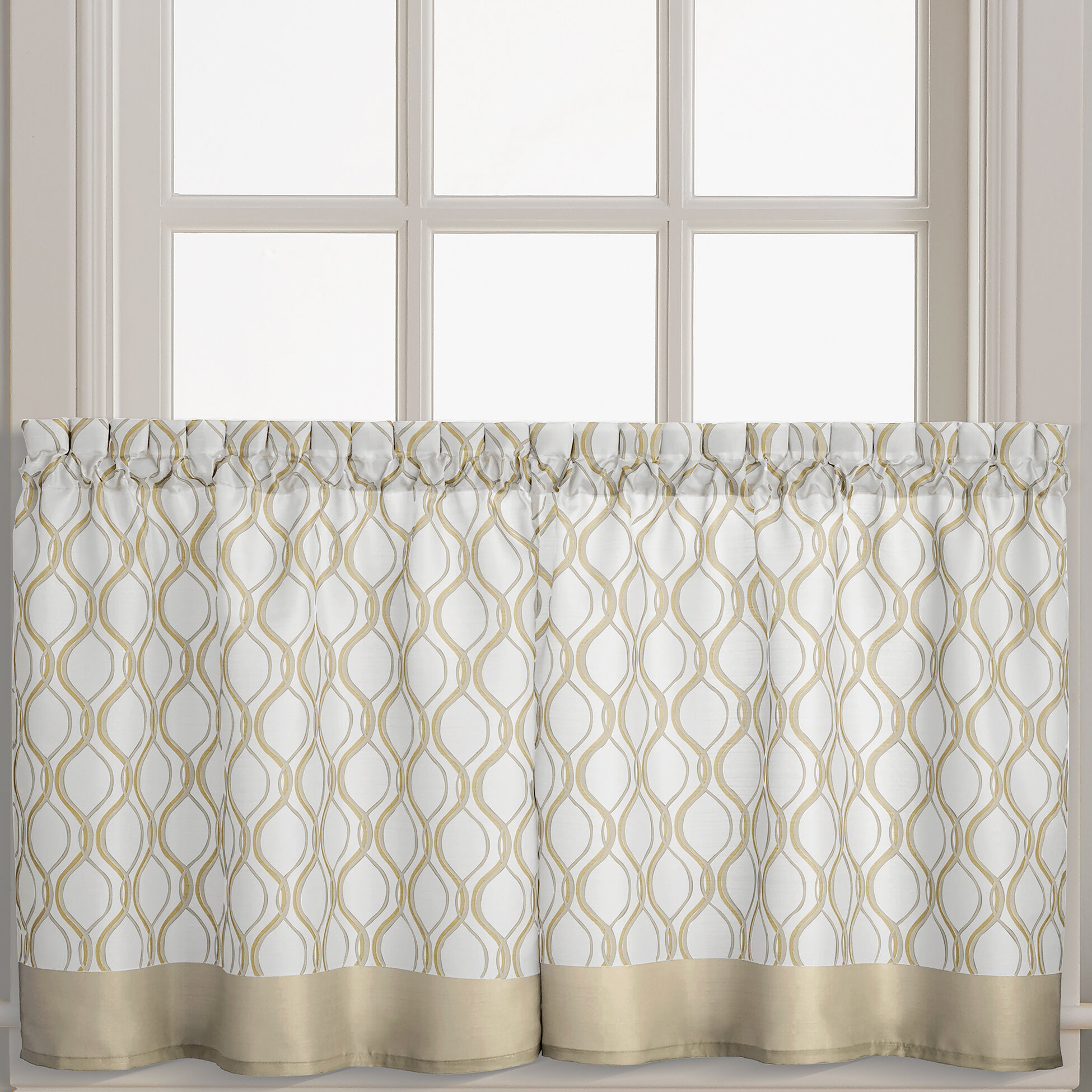 """Navarro 29"""" Cafe Curtain Throughout Geometric Print Microfiber 3 Piece Kitchen Curtain Valance And Tiers Sets (View 19 of 20)"""