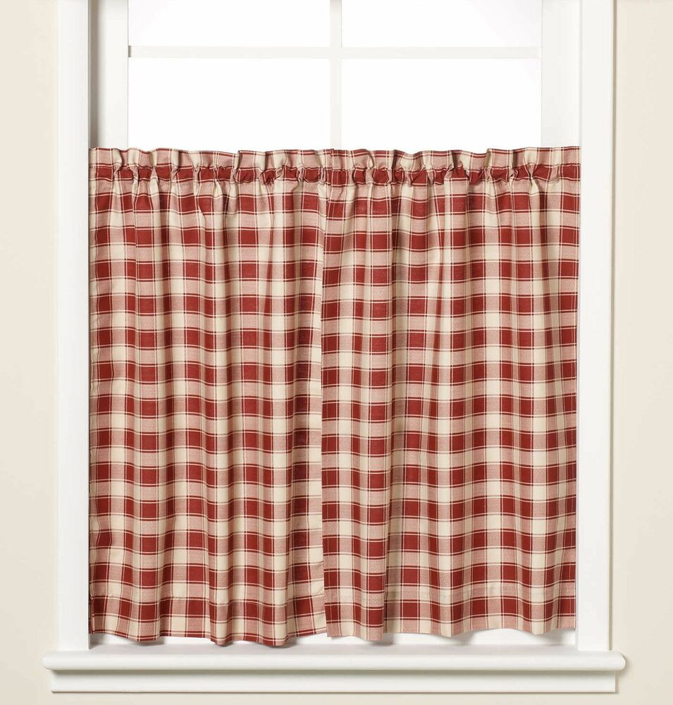 New Versa Ties Country Check Window Curtain Tier Pair In Brick 59X36 59 X 36 Red | Ebay Throughout Seabreeze 36 Inch Tier Pairs In Ocean (View 8 of 20)