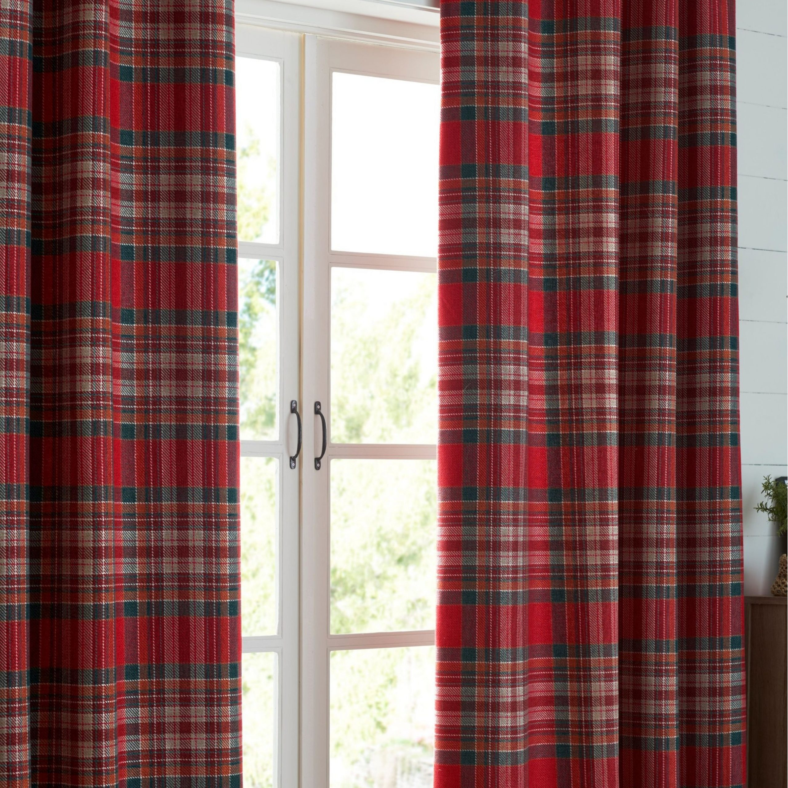 Next Crafted Thornly Woven Check Eyelet Super Thermal Pertaining To Cumberland Tier Pair Rod Pocket Cotton Buffalo Check Kitchen Curtains (View 17 of 20)