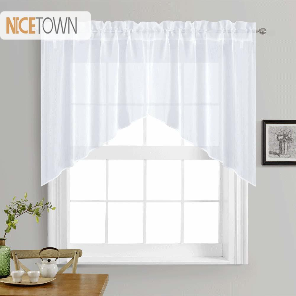 Nicetown White Rod Pocket Faux Linen Textured Swags Kitchen Curtains Valance Sheer For Home Decor Small Window, 1 Pair With Linen Stripe Rod Pocket Sheer Kitchen Tier Sets (View 7 of 20)