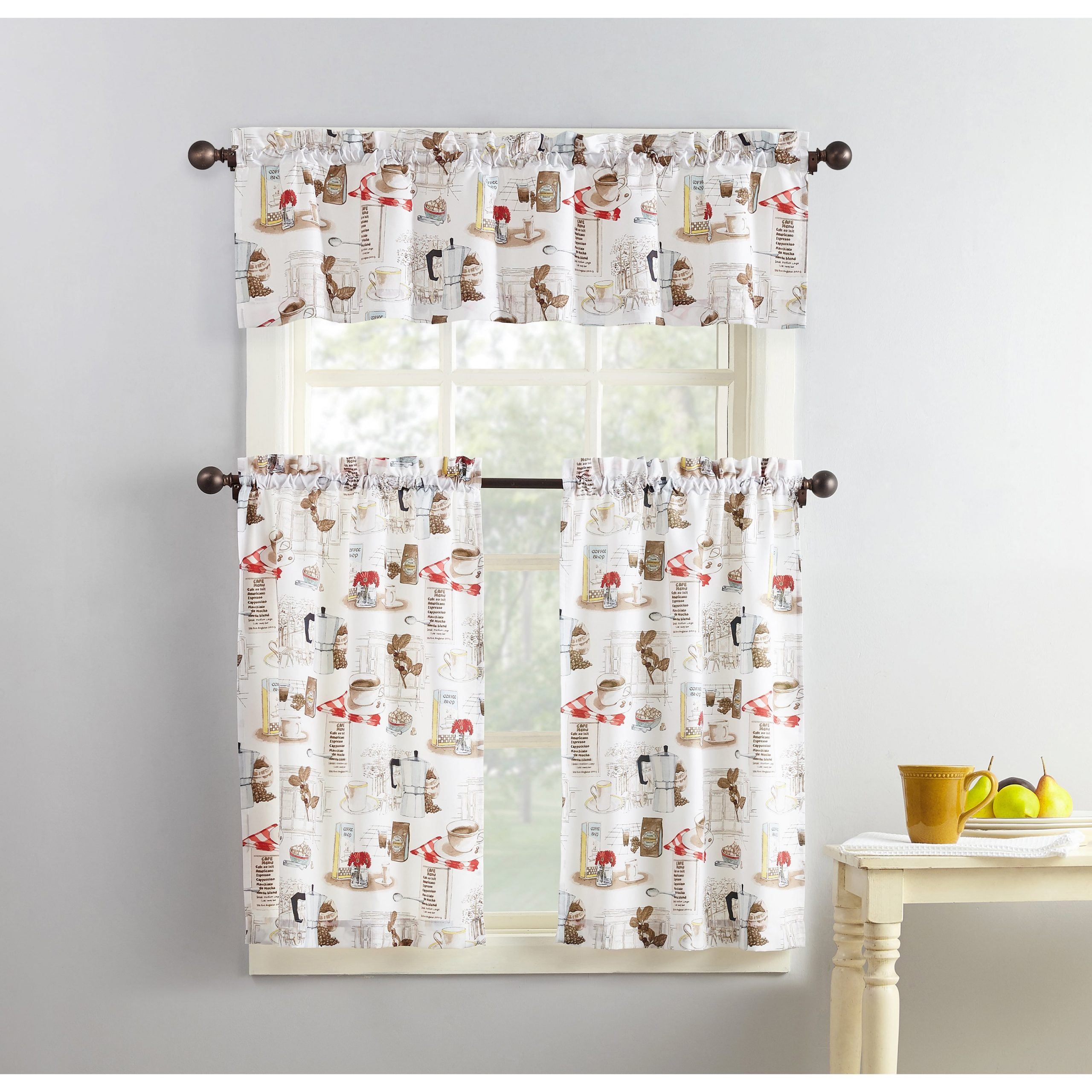 Popular Photo of Coffee Drinks Embroidered Window Valances And Tiers