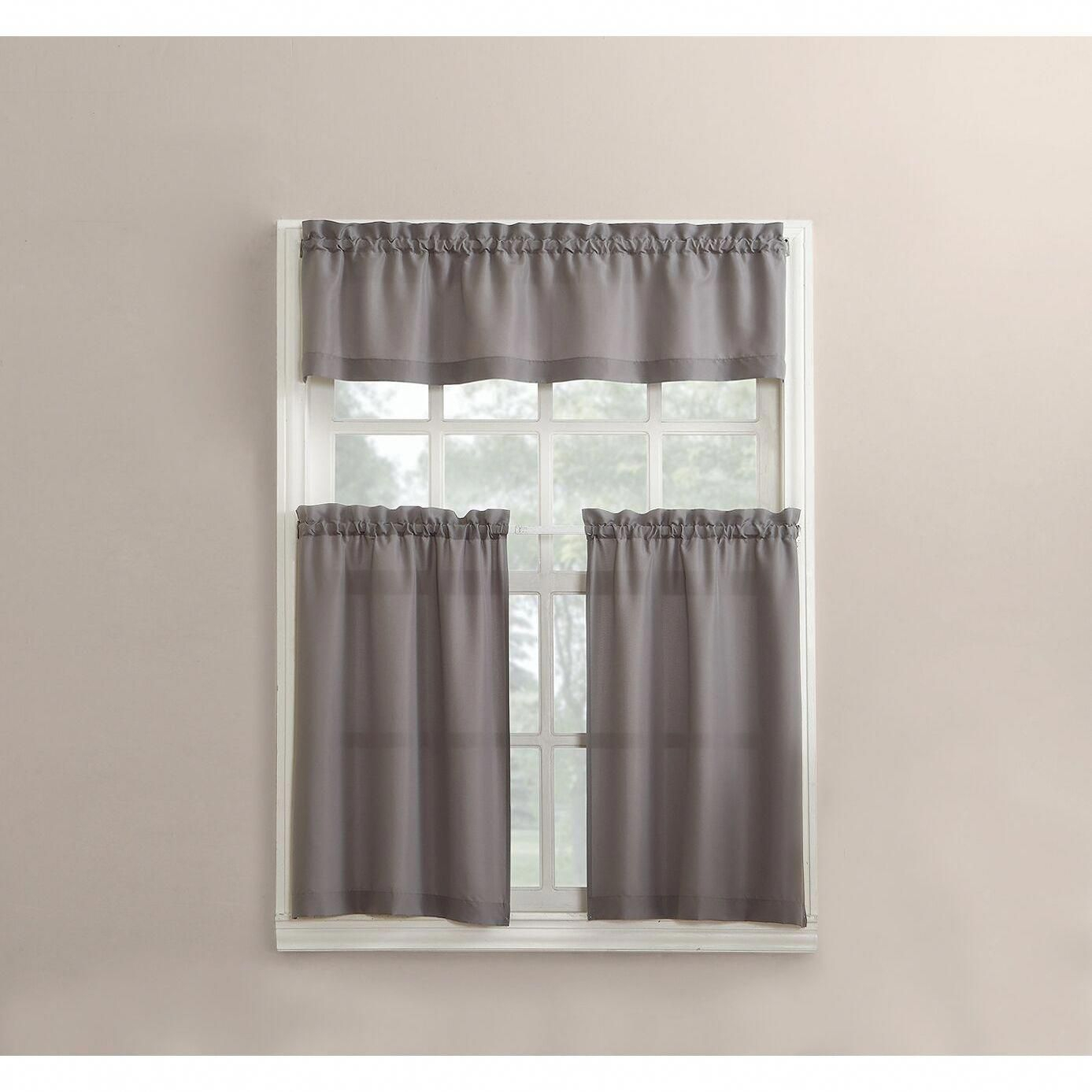 Featured Photo of Microfiber 3 Piece Kitchen Curtain Valance And Tiers Sets