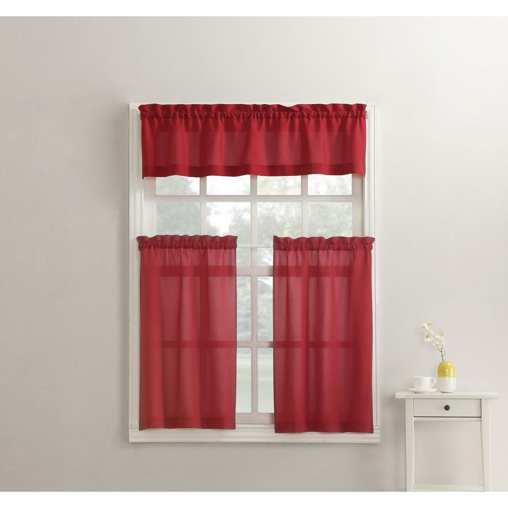 No. 918 Martine Red Microfiber Kitchen Curtains (3 Piece Set) – 54 In. W X 36 In (View 15 of 20)