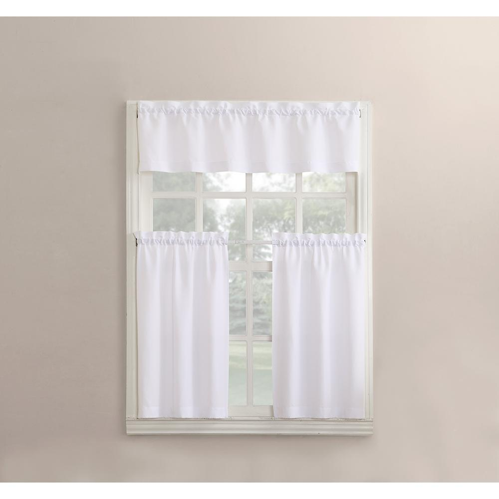 No. 918 Martine White Microfiber Kitchen Curtains (3 Piece Set) – 54 In. W X 36 In (View 3 of 20)