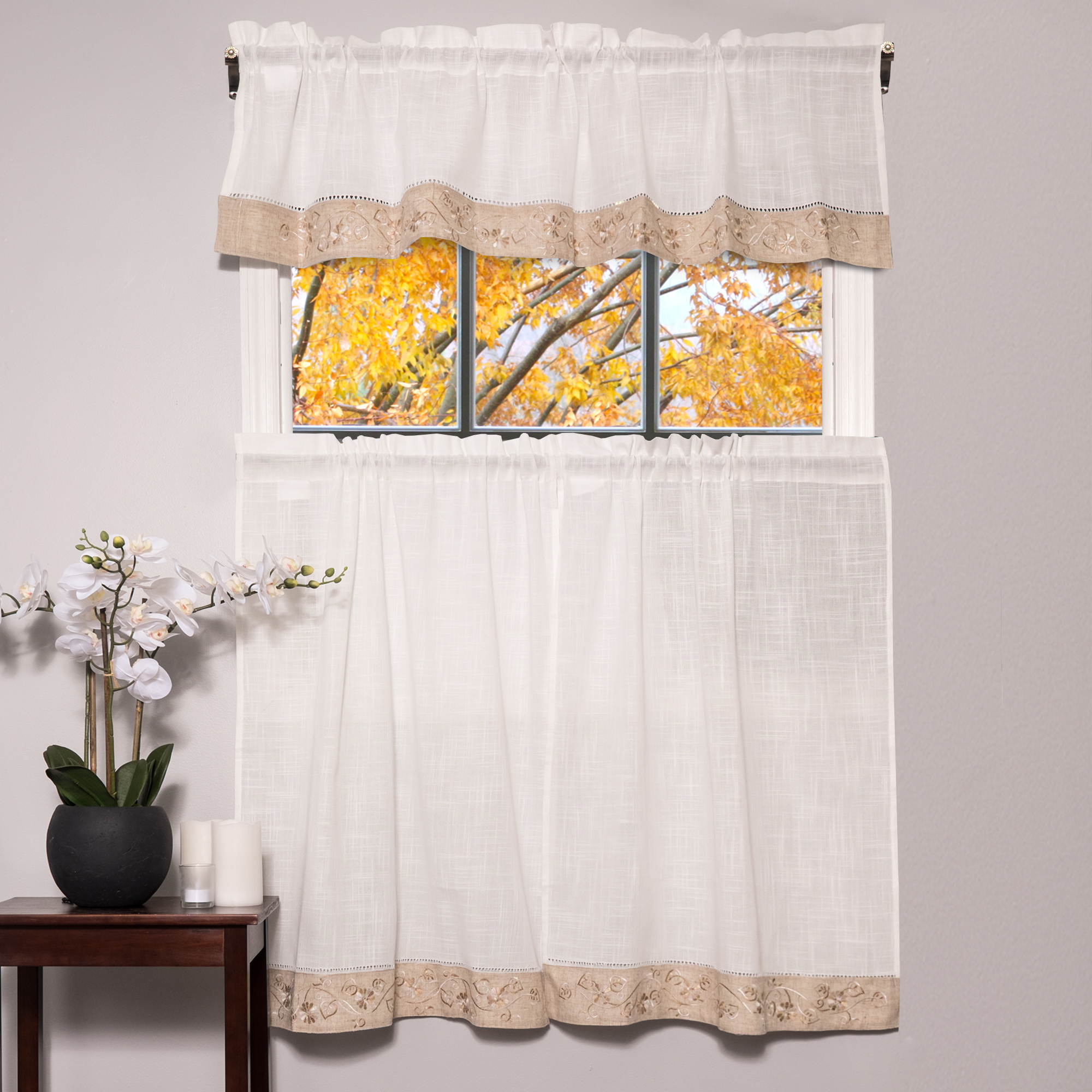"Oakwood Linen Style Kitchen Window Curtain 58"" X 36"" Kitchen Curtains, Set Of 2, Natural Pertaining To Embroidered Floral 5 Piece Kitchen Curtain Sets (View 16 of 20)"
