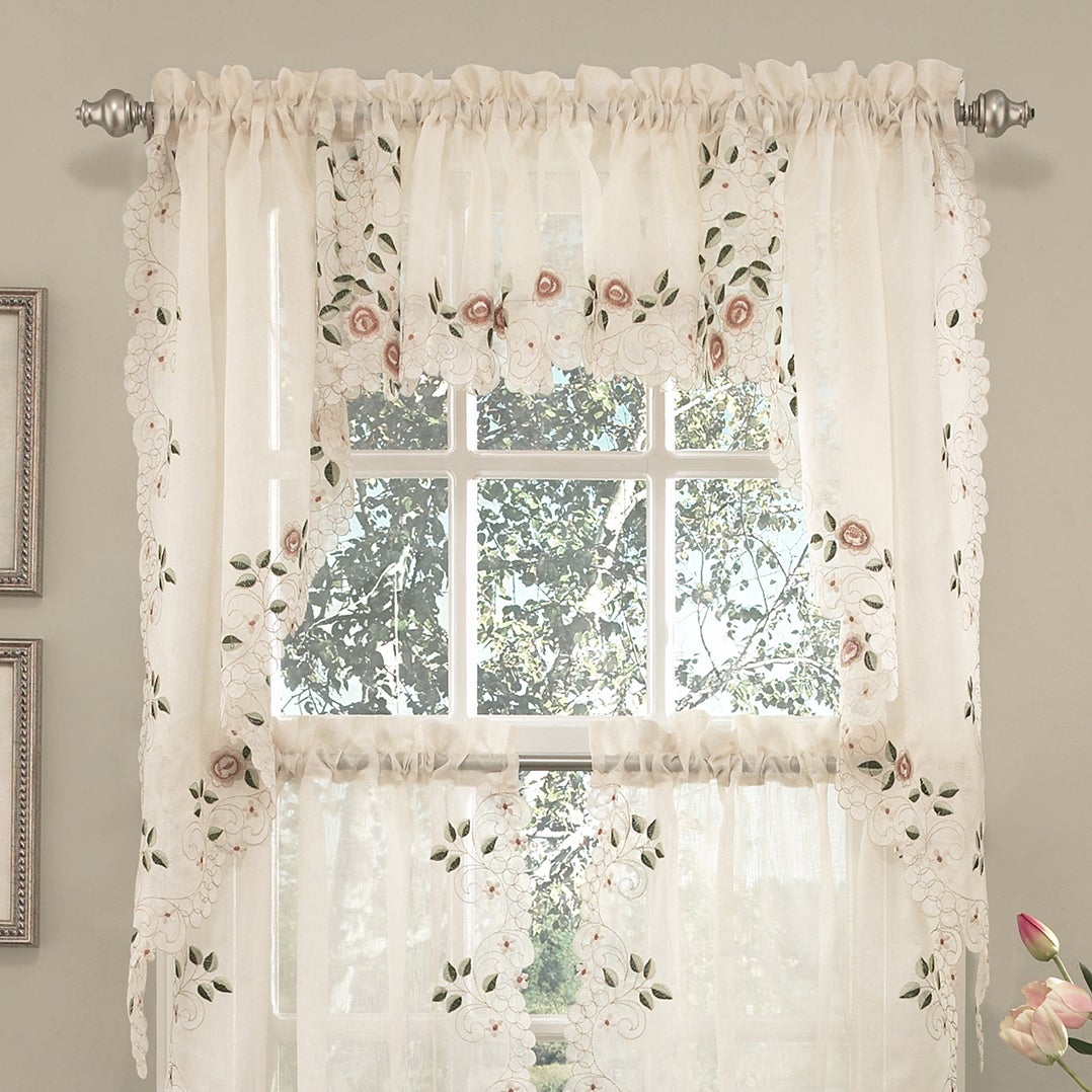 Old World Floral Embroidered Sheer Kitchen Curtain Parts Tiers, Swags And Valances In Semi Sheer Rod Pocket Kitchen Curtain Valance And Tiers Sets (View 16 of 20)