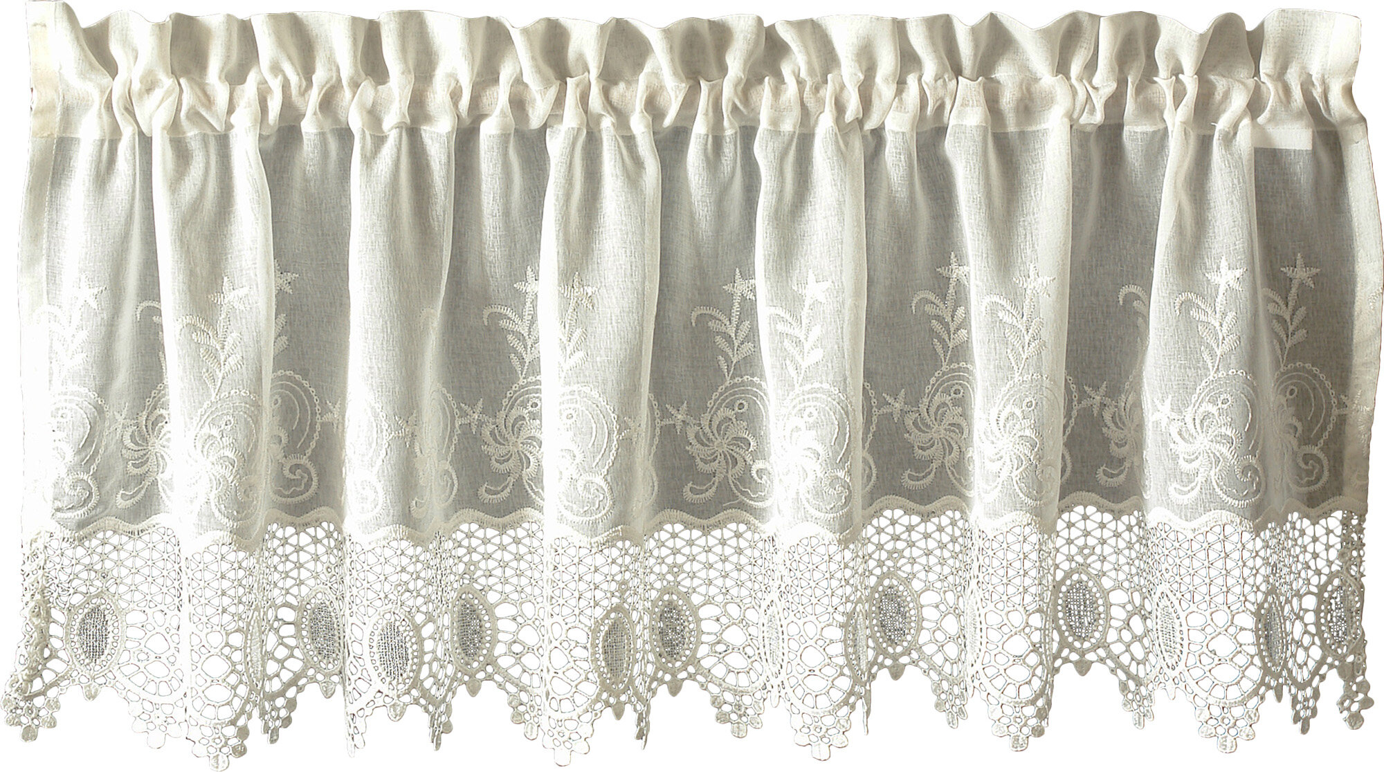 "Oliverson Macramé 55"" Curtain Valance Regarding Class Blue Cotton Blend Macrame Trimmed Decorative Window Curtains (View 19 of 20)"