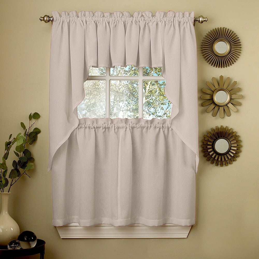 Opaque Grey Ribcord Kitchen Curtain Pieces – Tiers/ Valances/ Swags With Regard To French Vanilla Country Style Curtain Parts With White Daisy Lace Accent (View 11 of 20)