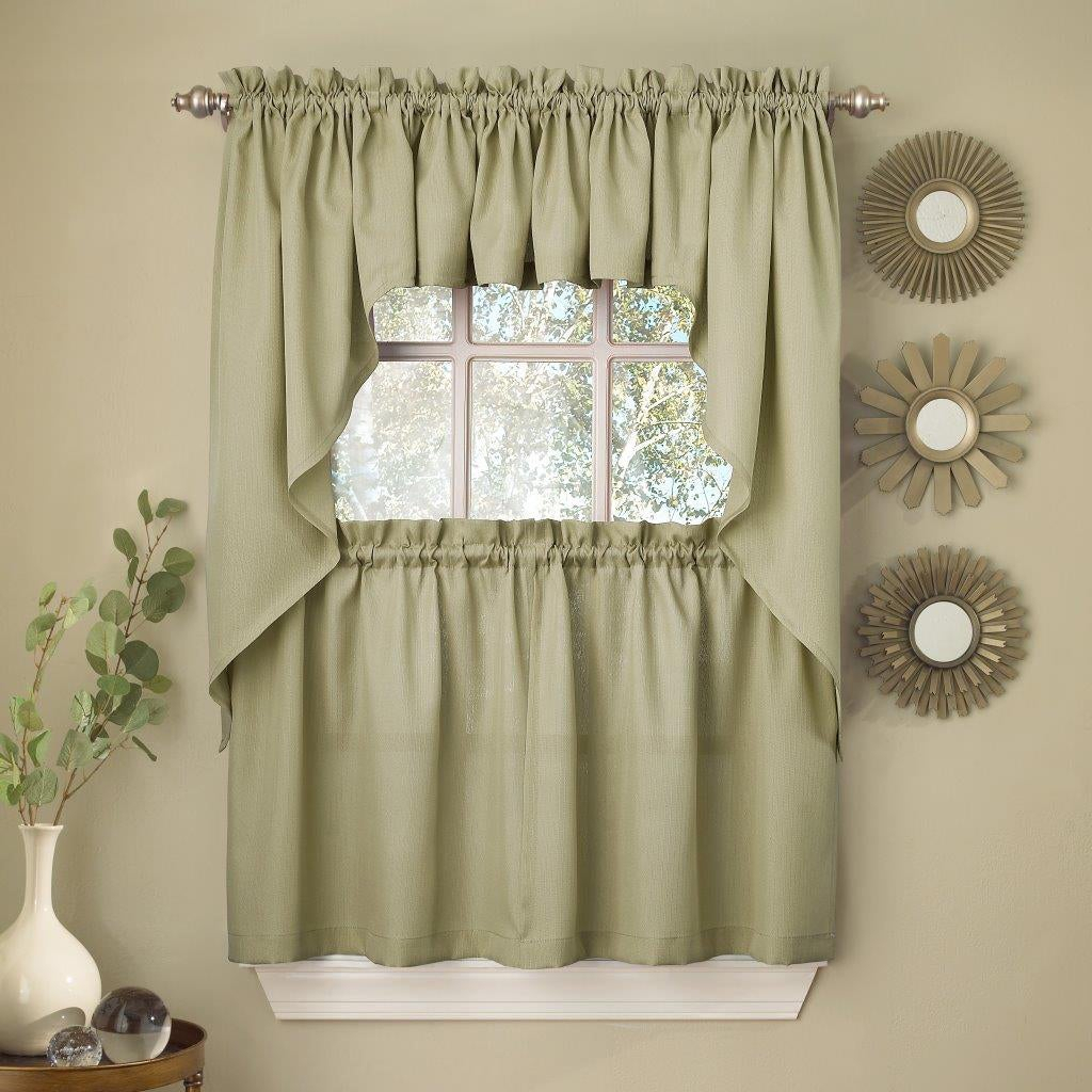Opaque Ribcord Kitchen Curtain Pieces – Tiers/ Valances/ Swags For Glasgow Curtain Tier Sets (View 4 of 20)