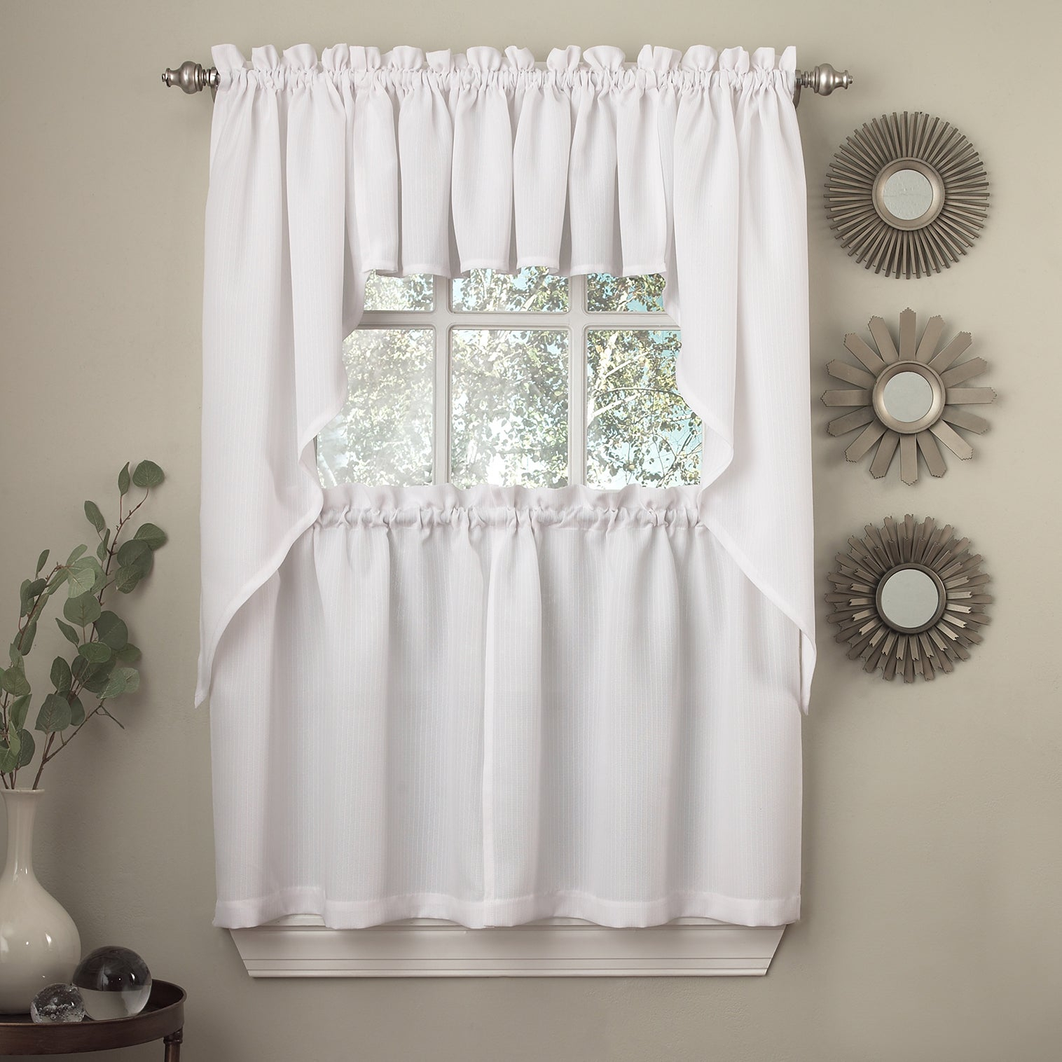 Opaque Ribcord Kitchen Curtain Pieces – Tiers/ Valances/ Swags With Glasgow Curtain Tier Sets (View 3 of 20)