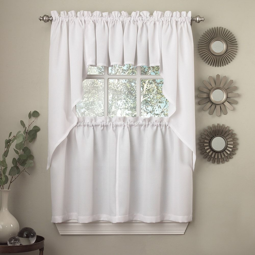 Opaque Ribcord Kitchen Curtain Pieces – Tiers/ Valances Throughout Country Style Curtain Parts With White Daisy Lace Accent (View 12 of 20)