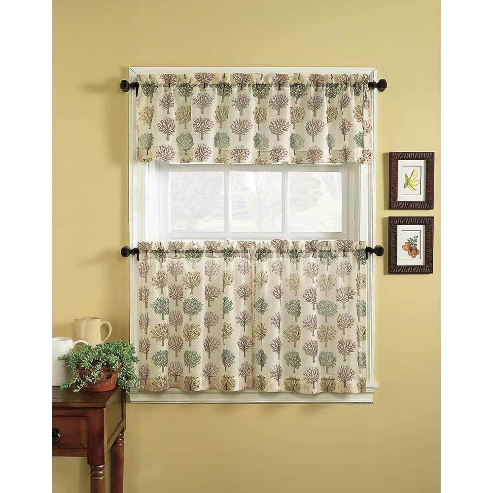 Orchard 3 Piece Tier Curtain And Valance Set With Scroll Leaf 3 Piece Curtain Tier And Valance Sets (View 10 of 20)