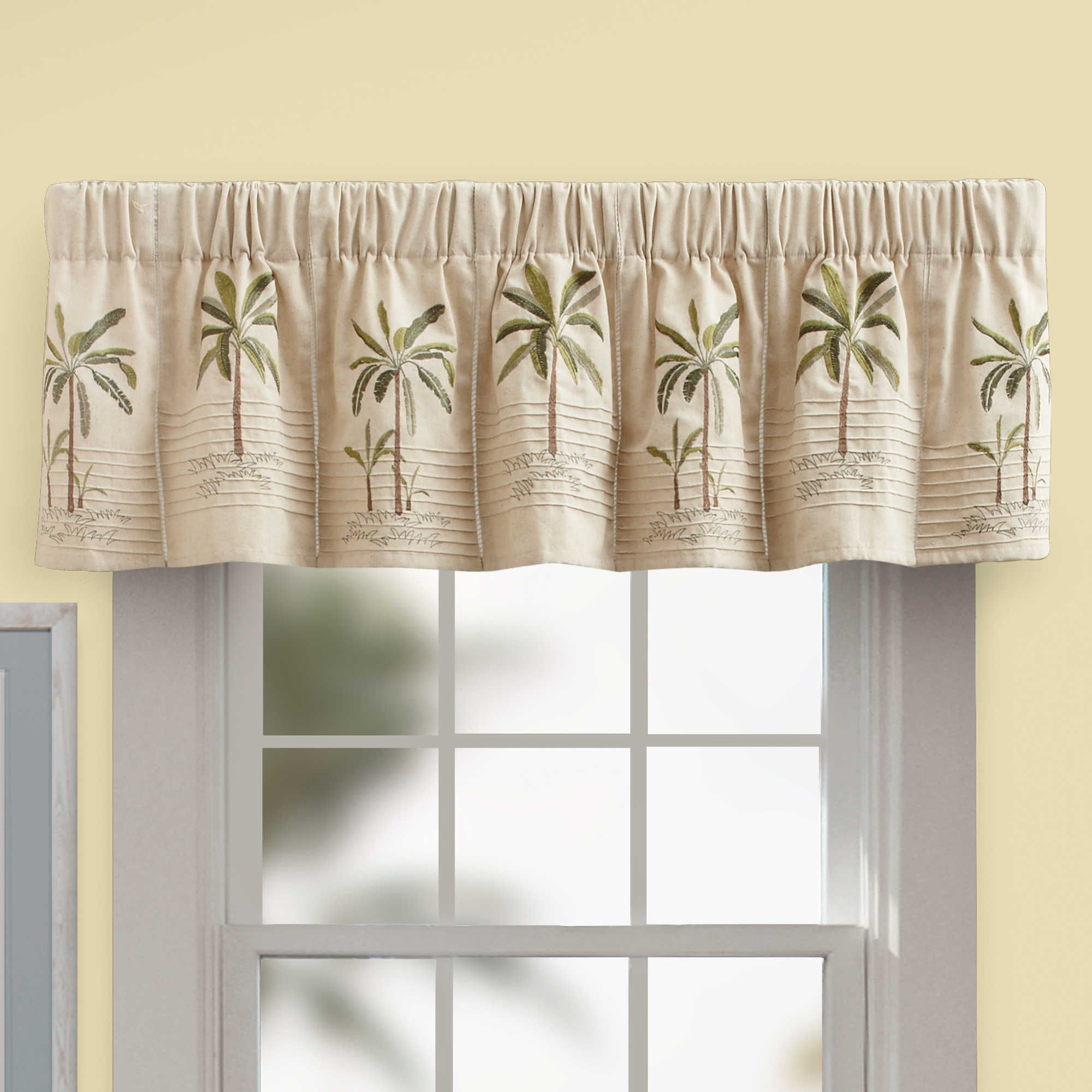 Palm Tree Valance In Ivory – Bedbathandbeyond | Home For Tree Branch Valance And Tiers Sets (View 6 of 20)