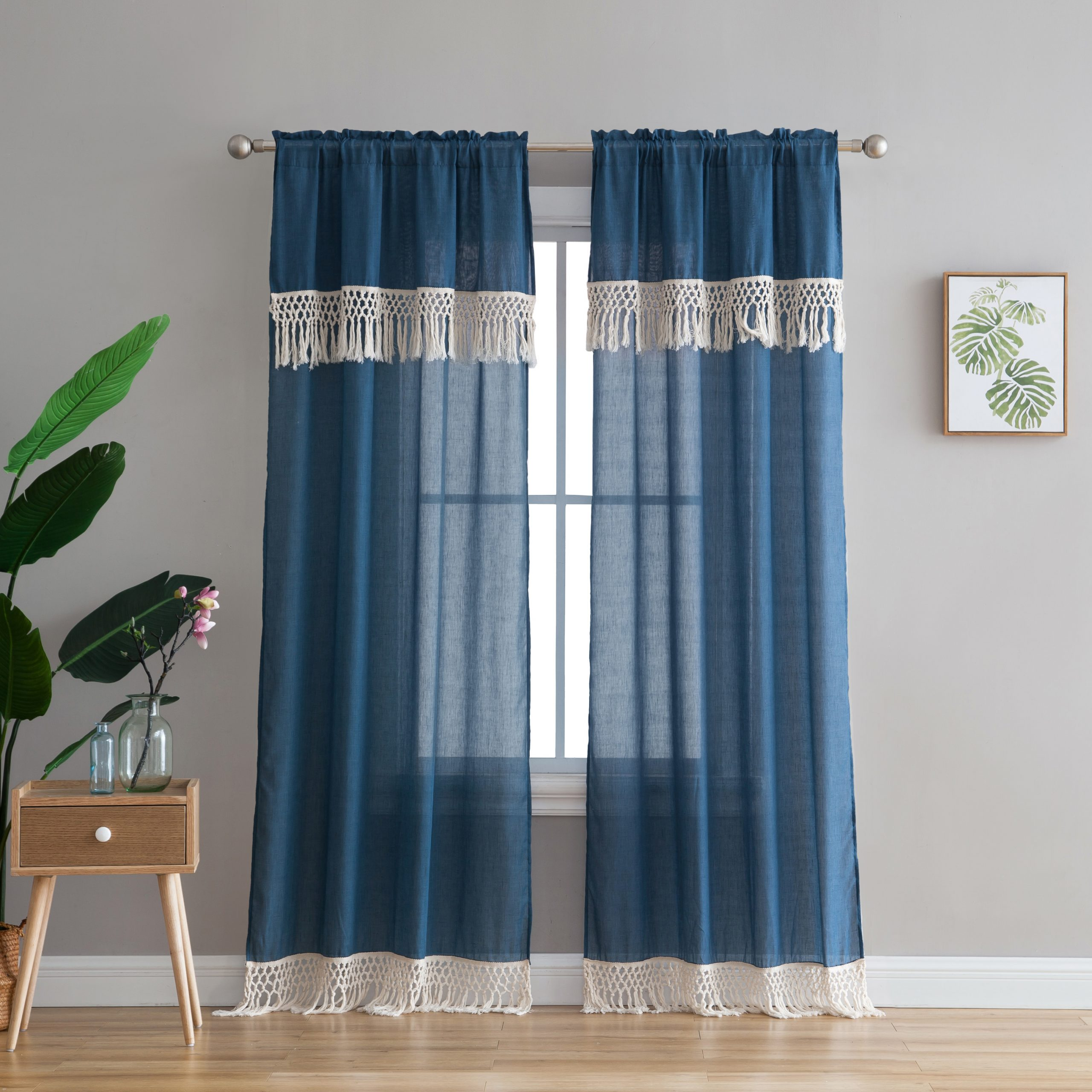 """Peach & Oak, Lydia Single Window Panel – Blue With Fringe – 84"""" Intended For Class Blue Cotton Blend Macrame Trimmed Decorative Window Curtains (View 5 of 20)"""