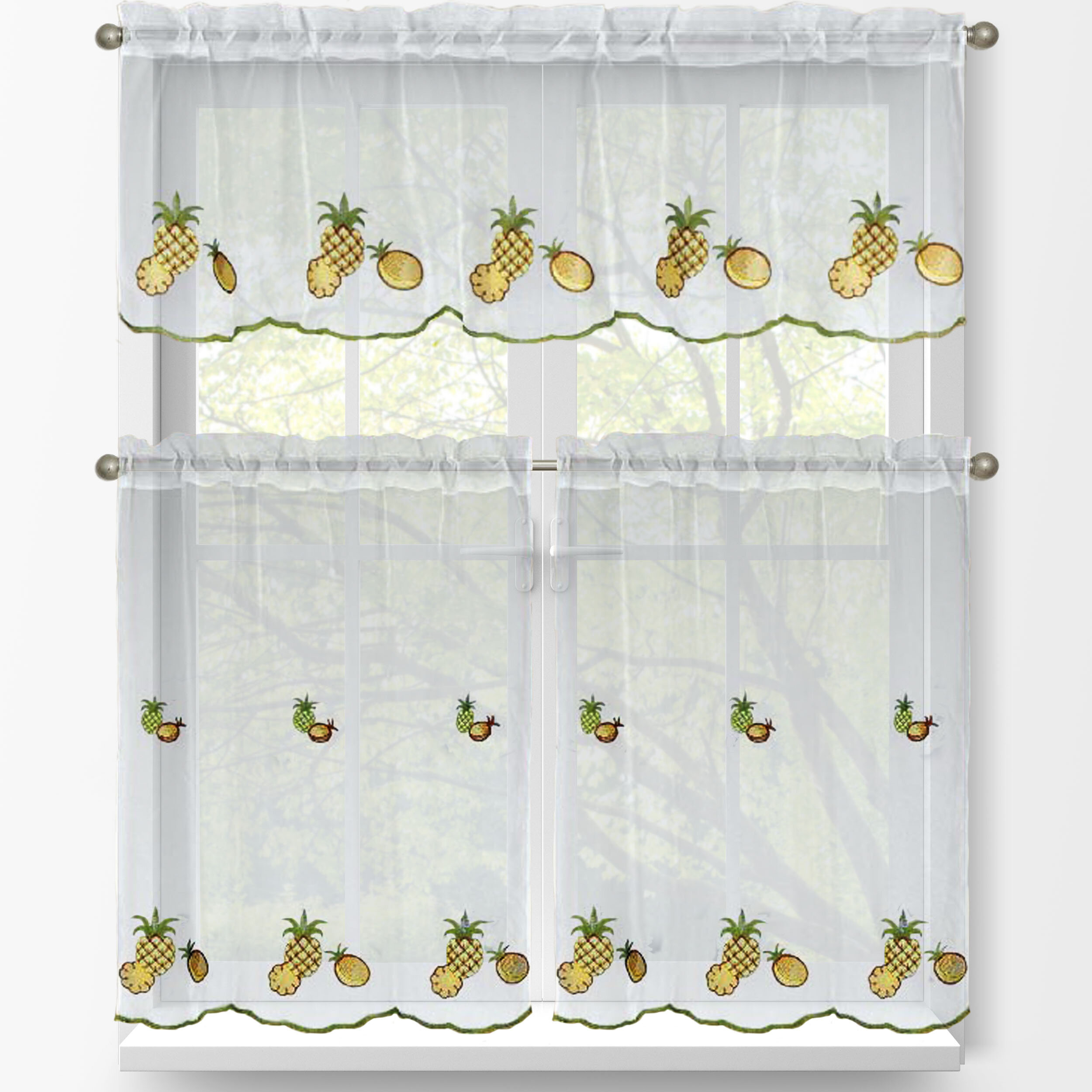 Pineapple 3 Piece Embroidered Kitchen Tier And Valance Set Regarding Window Curtain Tier And Valance Sets (View 10 of 20)