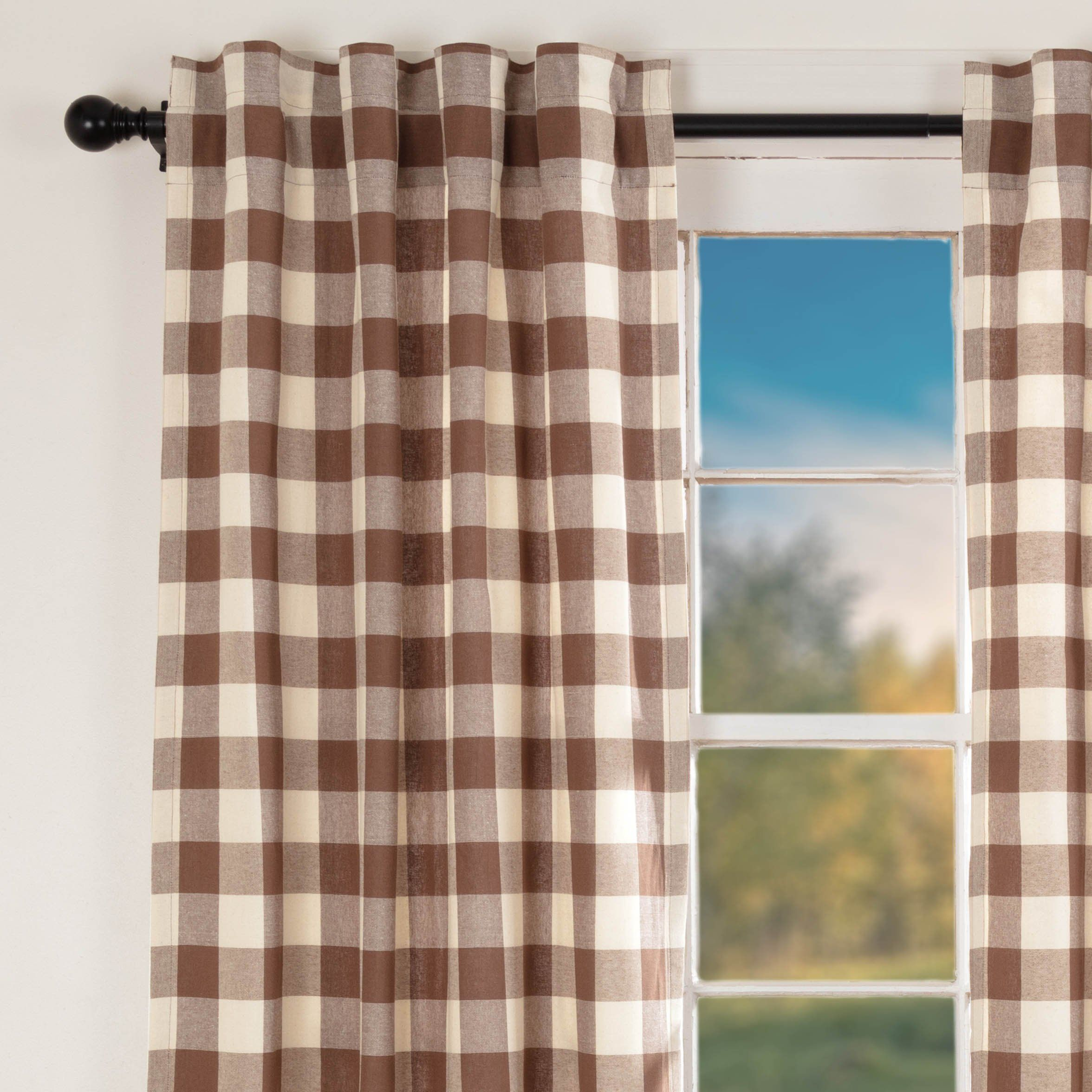 Piper Classics Dublin Buffalo Check Panel Curtains 84 Long Pertaining To Classic Navy Cotton Blend Buffalo Check Kitchen Curtain Sets (View 15 of 20)