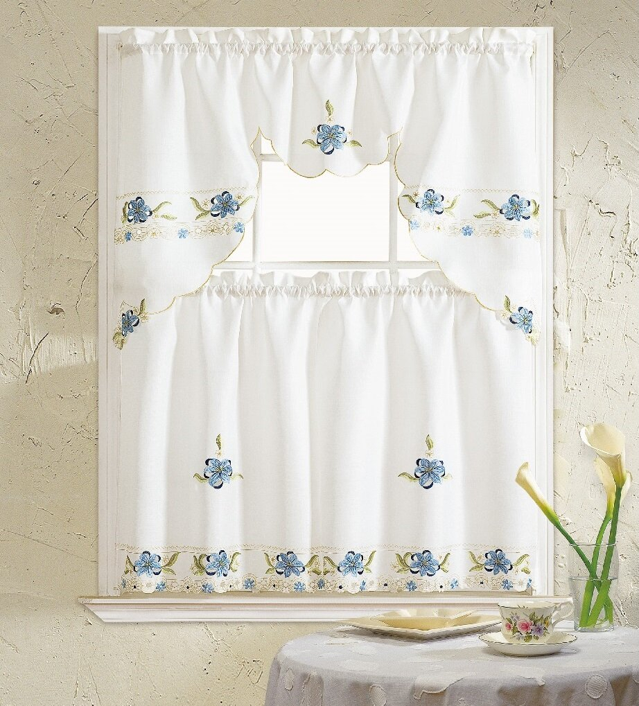 Polsky 3 Piece Kitchen Curtain Set In Scroll Leaf 3 Piece Curtain Tier And Valance Sets (View 19 of 20)