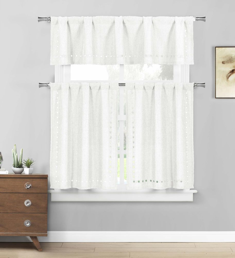 Polycotton Floral Vine Kitchen Curtain Drape Tier & Valance Within White Tone On Tone Raised Microcheck Semisheer Window Curtain Pieces (View 11 of 20)