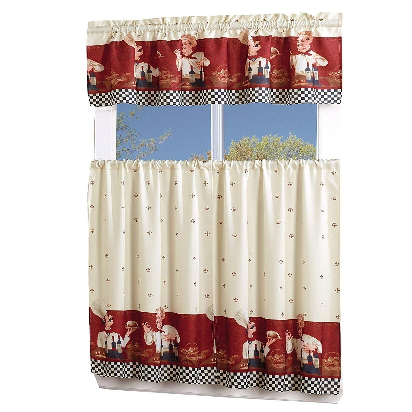 Porch & Den Capri 3 Piece Kitchen Window Curtain Set Pertaining To Cotton Lace 5 Piece Window Tier And Swag Sets (View 15 of 20)