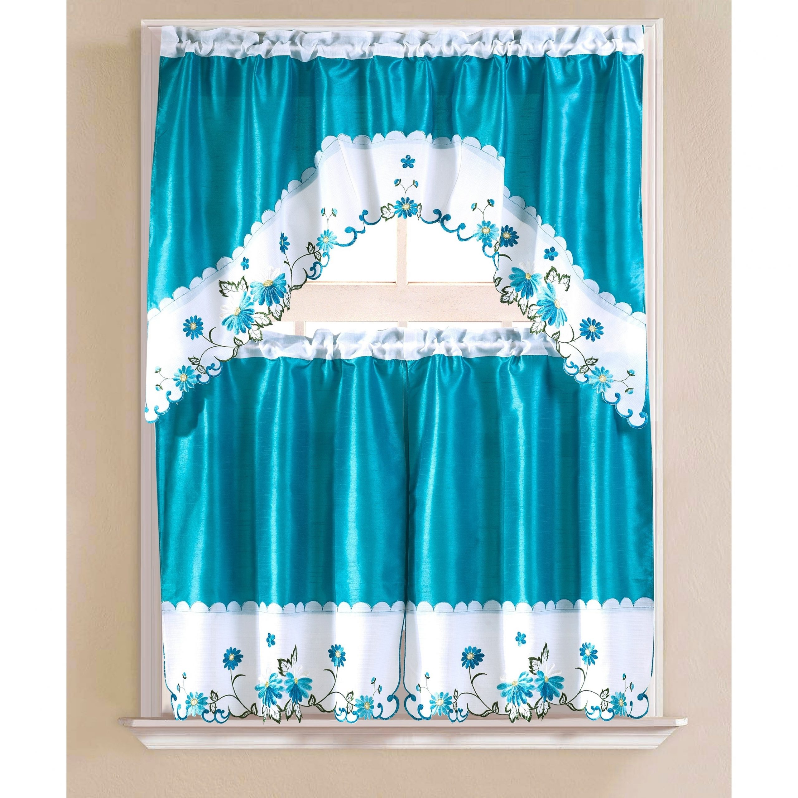 Porch & Den Eastview Faux Silk 3 Piece Kitchen Curtain Set In Chateau Wines Cottage Kitchen Curtain Tier And Valance Sets (View 15 of 20)