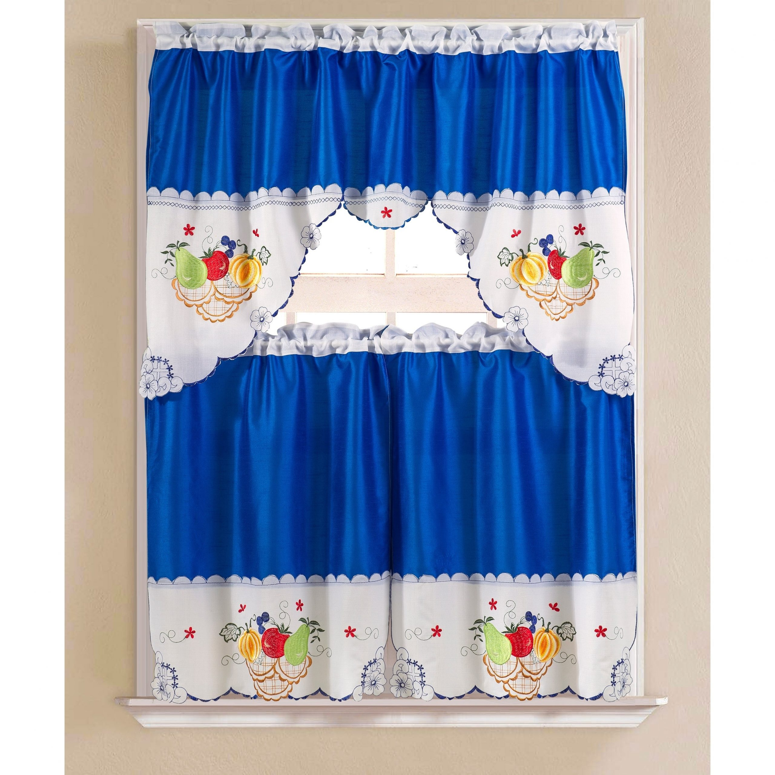Porch & Den Eastview Faux Silk 3 Piece Kitchen Curtain Set In Grace Cinnabar 5 Piece Curtain Tier And Swag Sets (View 10 of 20)