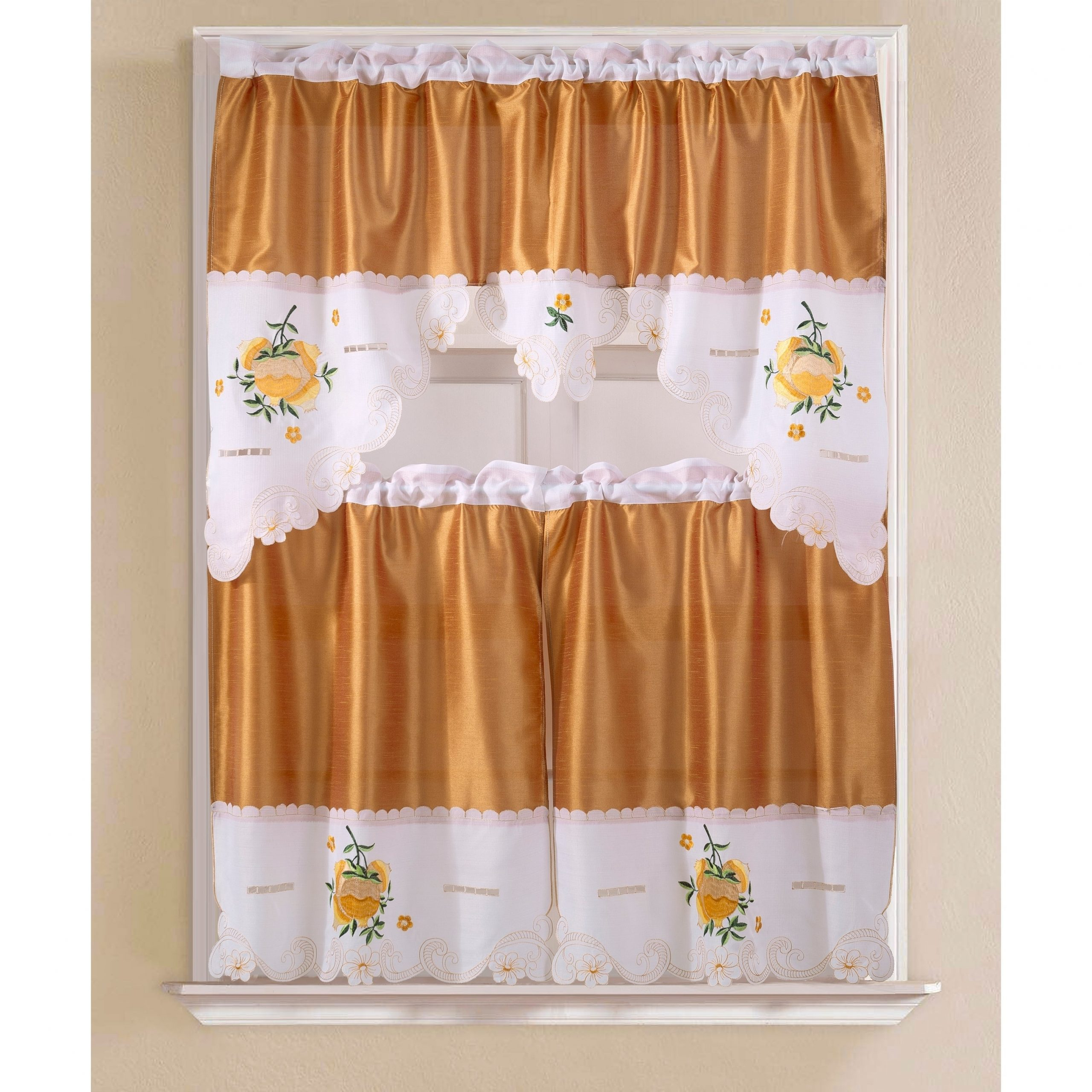 Porch & Den Eastview Faux Silk 3 Piece Kitchen Curtain Set With Chateau Wines Cottage Kitchen Curtain Tier And Valance Sets (View 16 of 20)