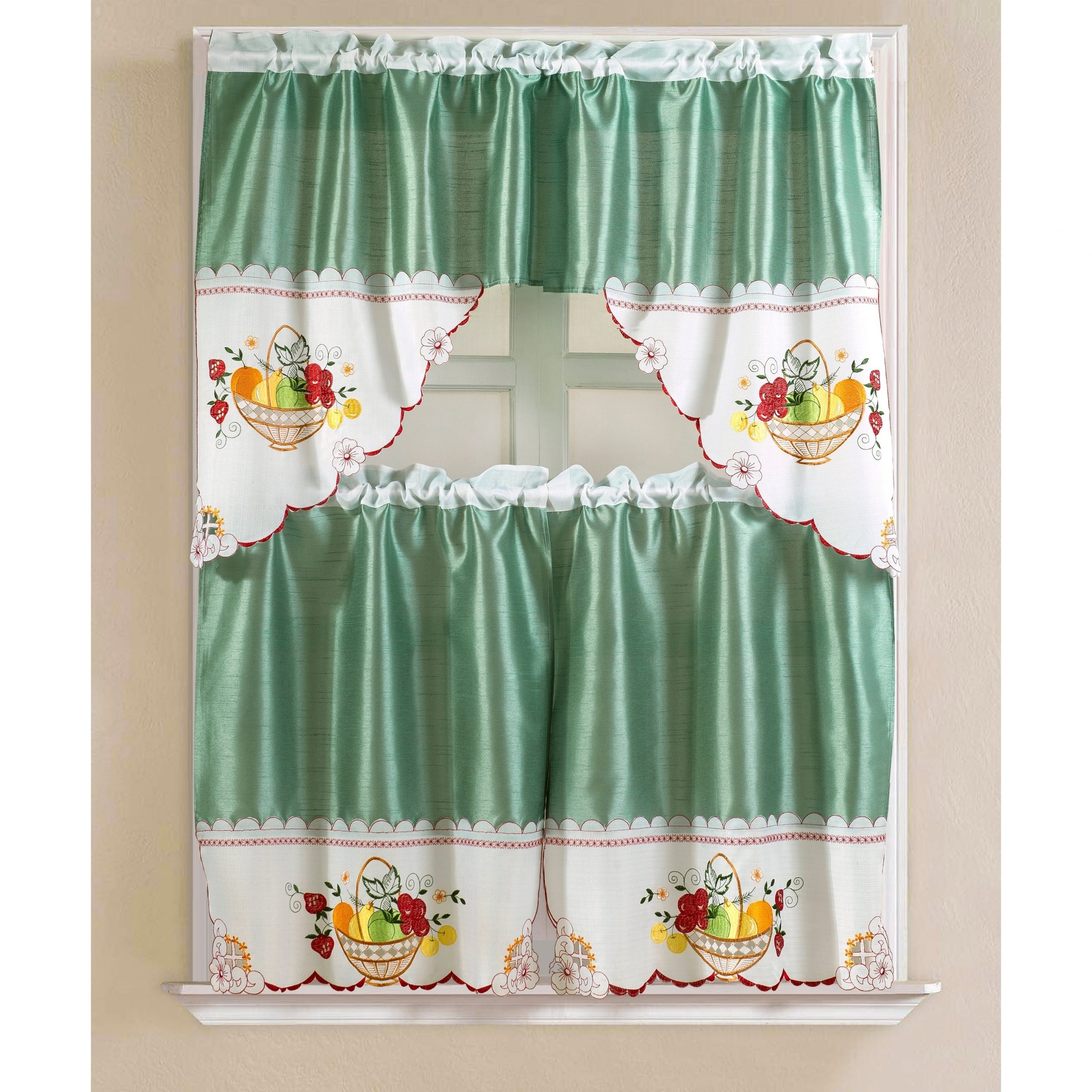Porch & Den Eastview Faux Silk 3 Piece Kitchen Curtain Set With Grace Cinnabar 5 Piece Curtain Tier And Swag Sets (View 12 of 20)