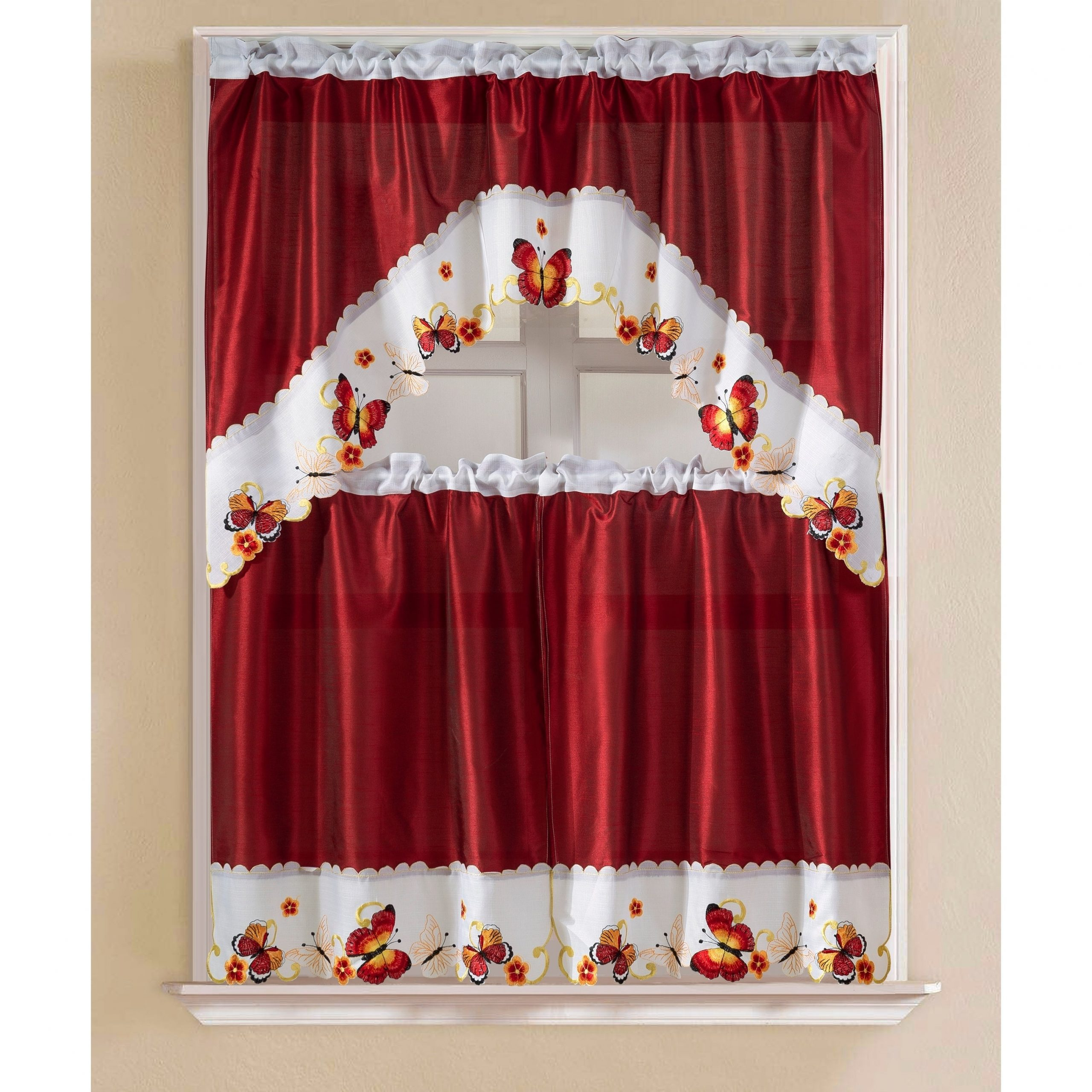 Porch & Den Eastview Faux Silk 3 Piece Kitchen Curtain Set With Regard To Grace Cinnabar 5 Piece Curtain Tier And Swag Sets (View 4 of 20)