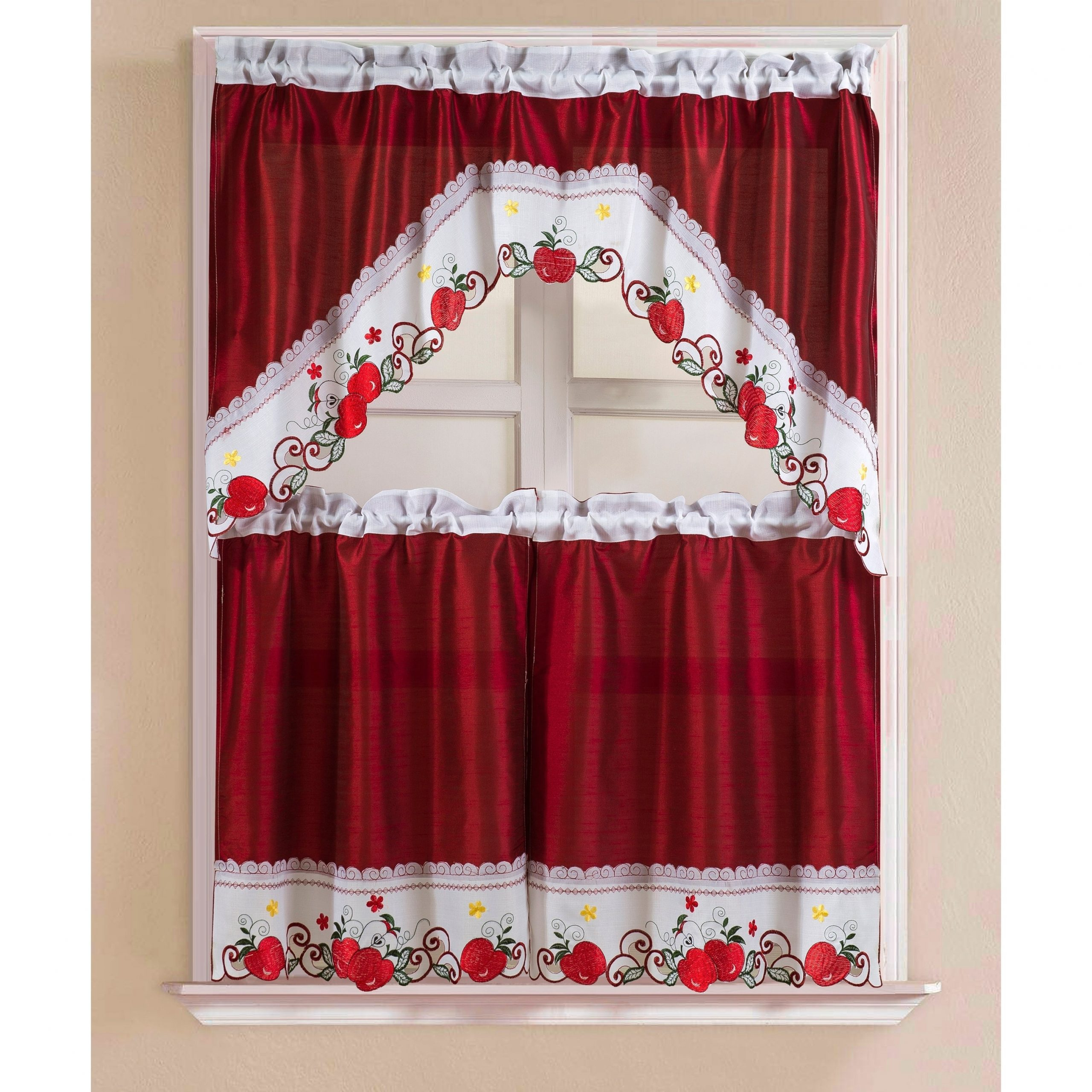 Porch & Den Eastview Faux Silk 3 Piece Kitchen Curtain Set With Regard To Traditional Two Piece Tailored Tier And Valance Window Curtains (View 19 of 20)