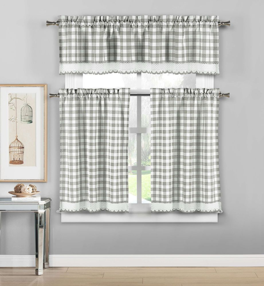 Premium Check Chrochet Kitchen Window Curtain Tier & Valance Throughout Grey Window Curtain Tier And Valance Sets (View 6 of 20)