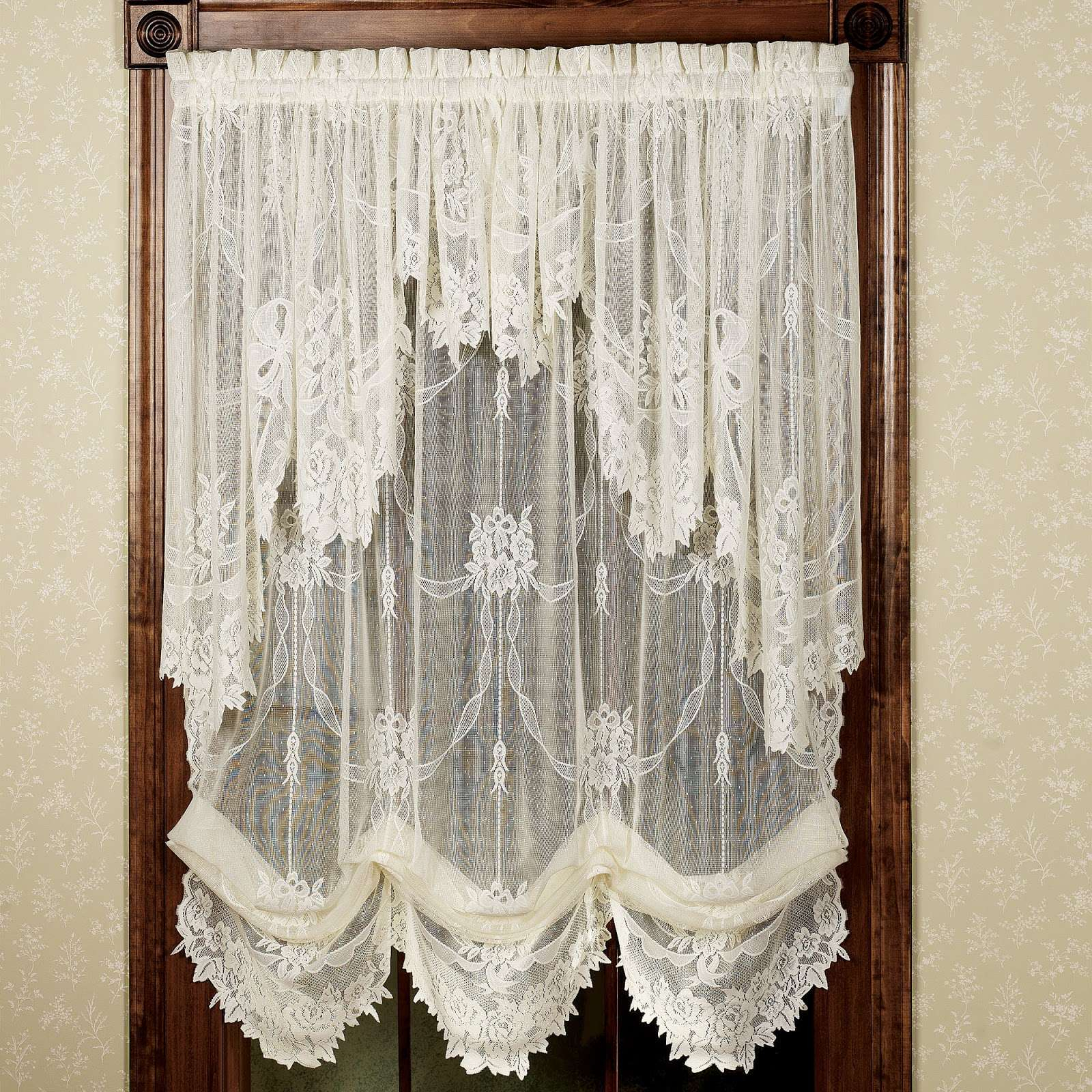 Pretty Country Lace Curtains Swags For Living Room Catalog Intended For Country Style Curtain Parts With White Daisy Lace Accent (View 14 of 20)