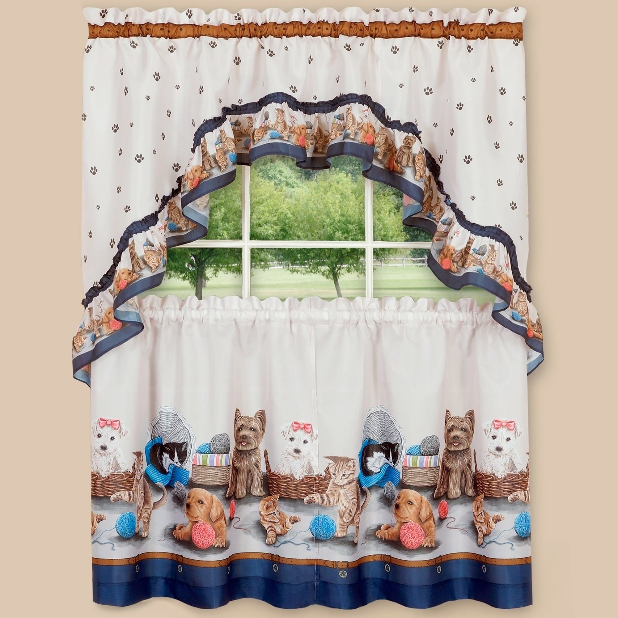 """Pretty Pets Printed Tier And Swag Set (36""""x57"""") Navy For Grace Cinnabar 5 Piece Curtain Tier And Swag Sets (View 15 of 20)"""