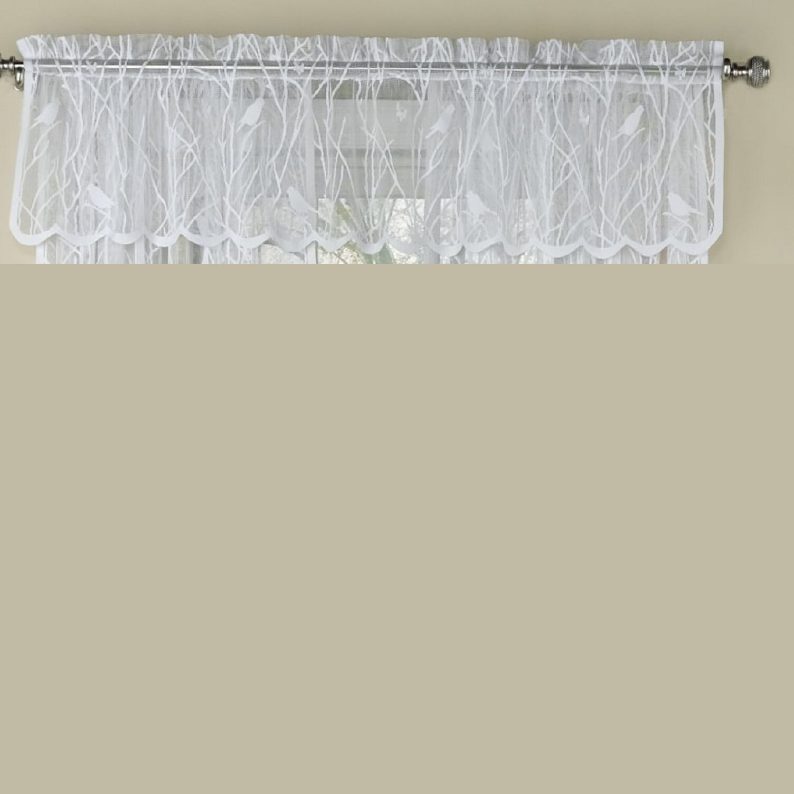 """Prevatte Bird Song Sheer Lace Tailored 56"""" Window Valance Regarding Ivory Knit Lace Bird Motif Window Curtain (View 15 of 20)"""