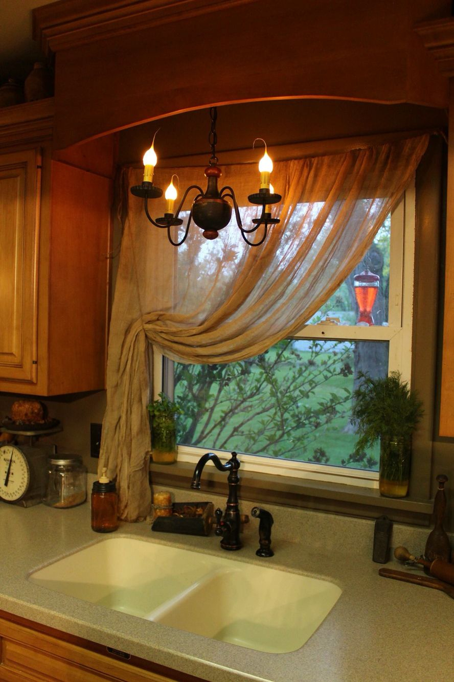 Primitive Cheesecloth Curtains | Shabby Chic Kitchen Pertaining To Primitive Kitchen Curtains (Gallery 3 of 20)