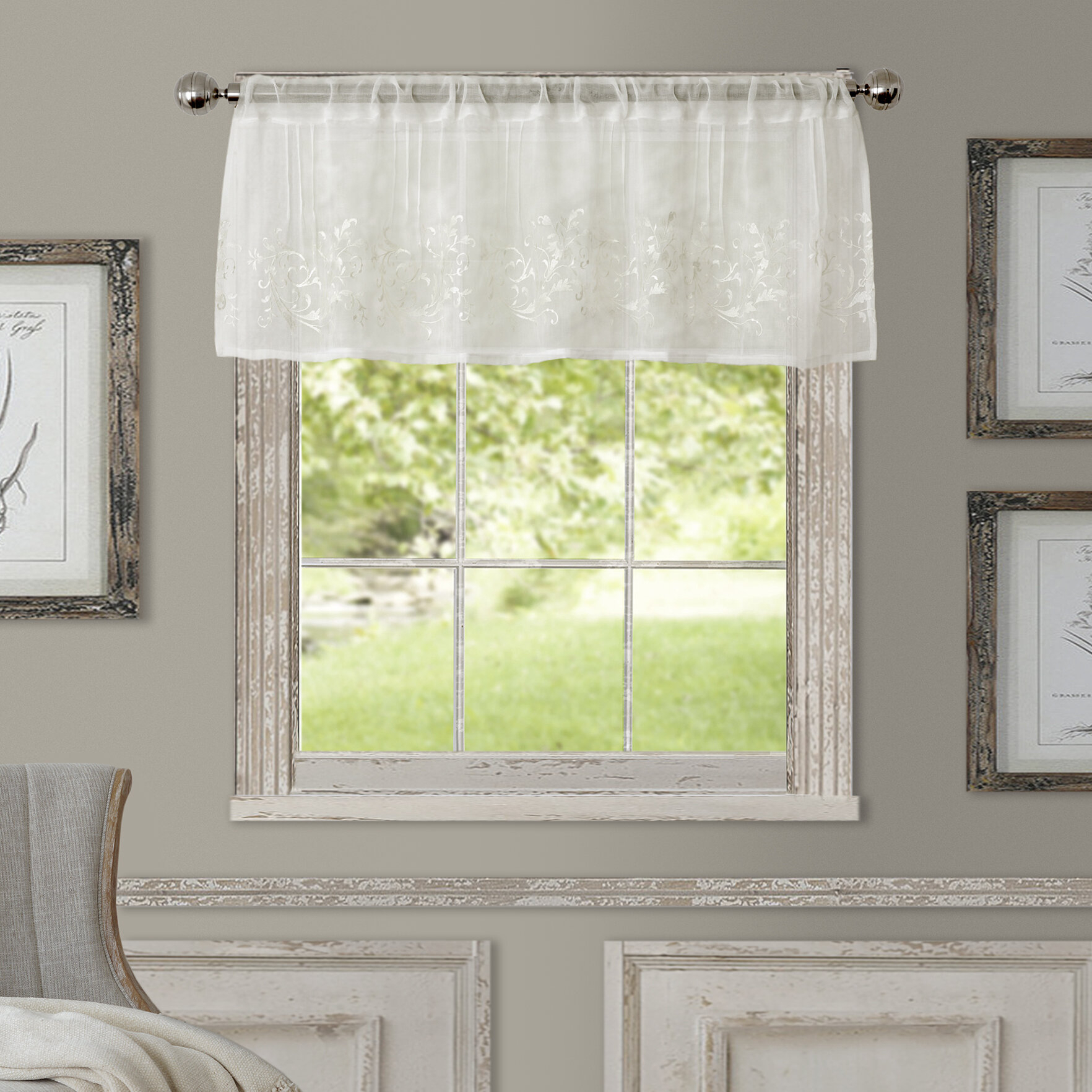 "Purkey 60"" Window Valance With Regard To White Tone On Tone Raised Microcheck Semisheer Window Curtain Pieces (View 12 of 20)"