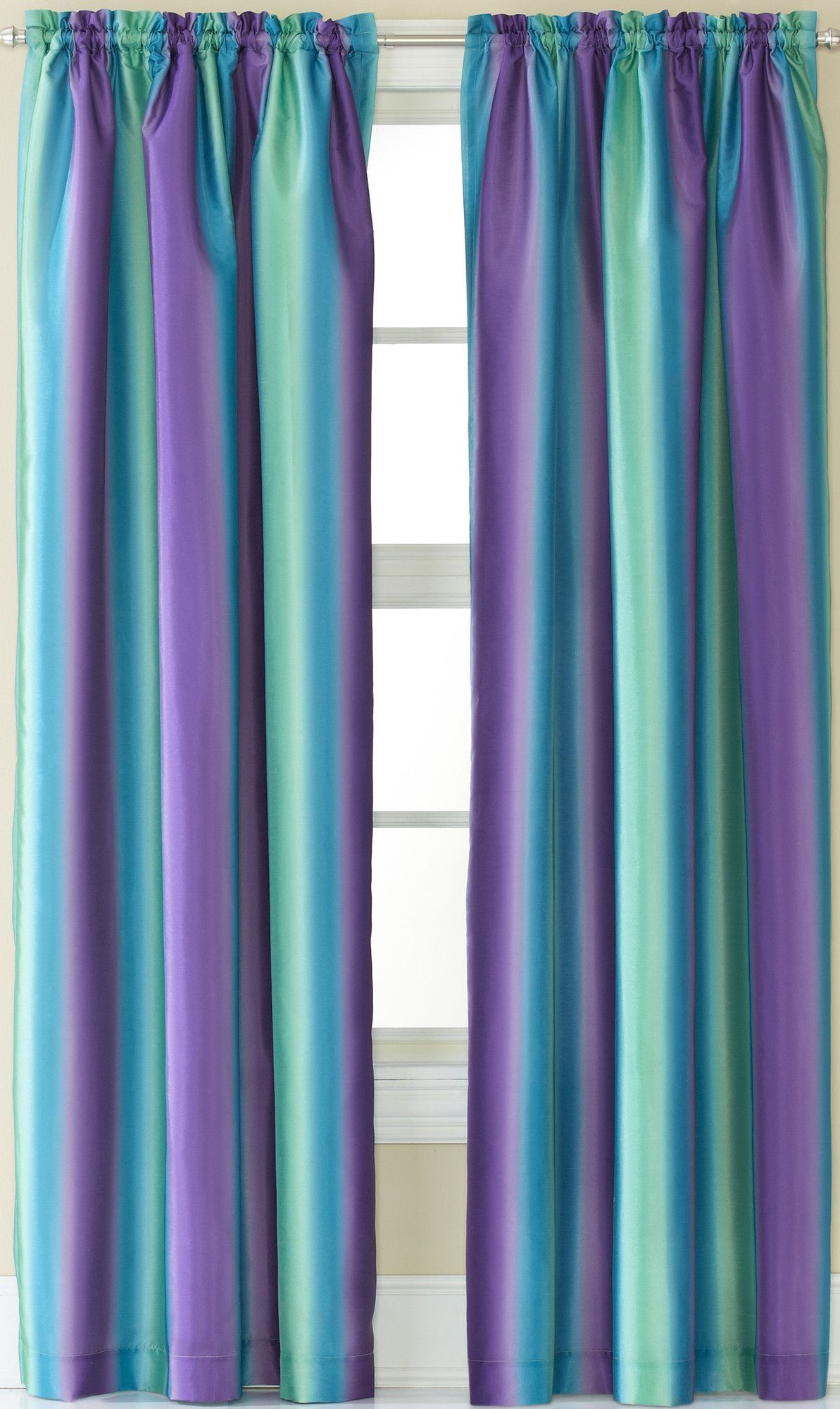 Rainbow Ombre Curtain Panel | Girls Bedroom | Teal Curtains Throughout Floral Watercolor Semi Sheer Rod Pocket Kitchen Curtain Valance And Tiers Sets (Photo 14 of 20)