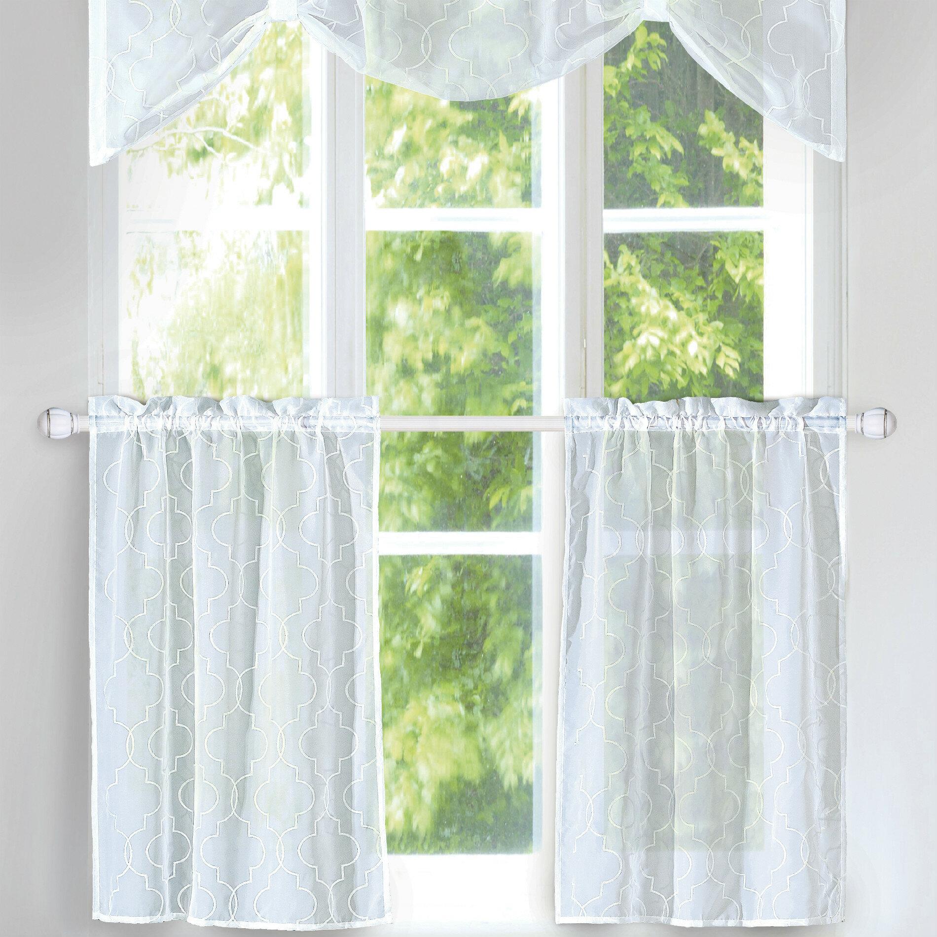 """Rana 3 Piece 56"""" Kitchen Curtains Regarding Elegant White Priscilla Lace Kitchen Curtain Pieces (Gallery 7 of 20)"""