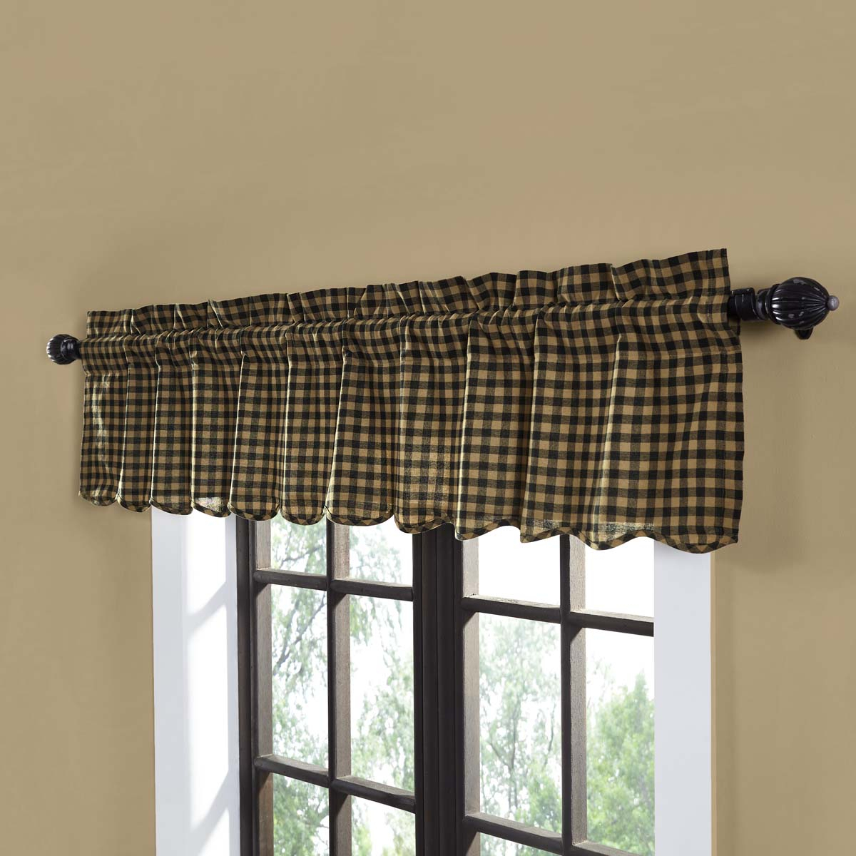 Raven Black Primitive Kitchen Curtains Cody Black Check Rod Pocket Cotton Check 16x72 Valance Regarding Primitive Kitchen Curtains (View 15 of 20)